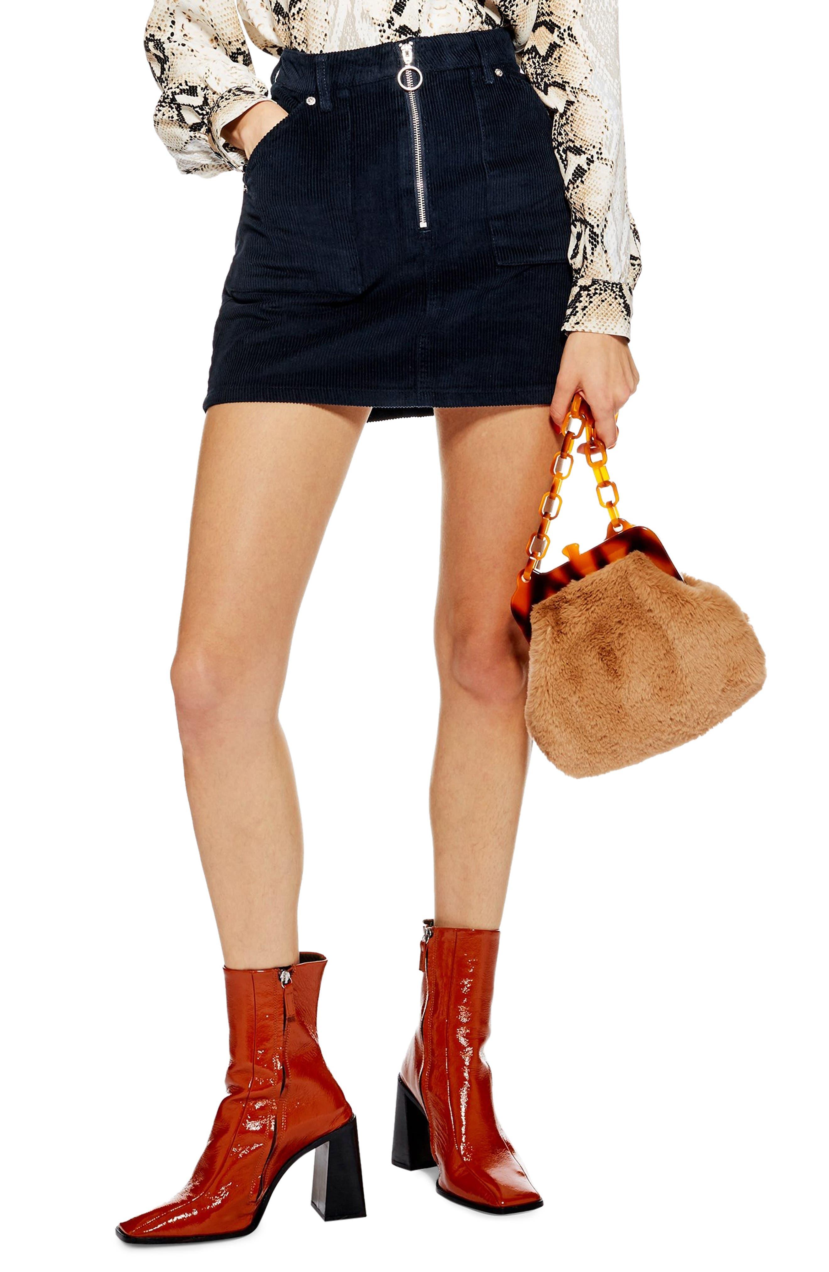 Topshop Front Zip Corduroy Miniskirt, US (fits like 10-12) - Blue