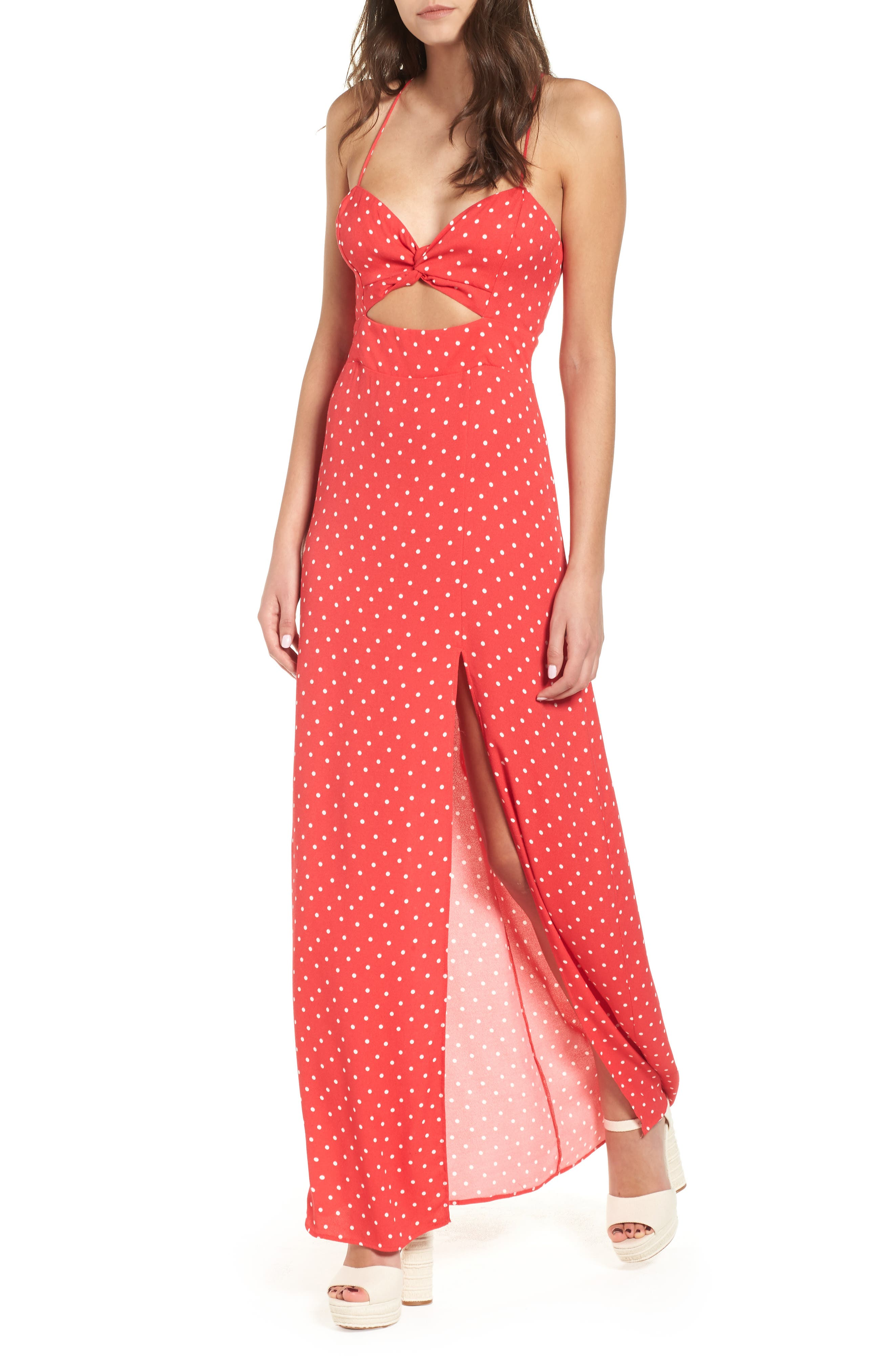 Marie Twisted Knot Front Maxi Dress,                             Alternate thumbnail 6, color,                             RED POLKA DOT