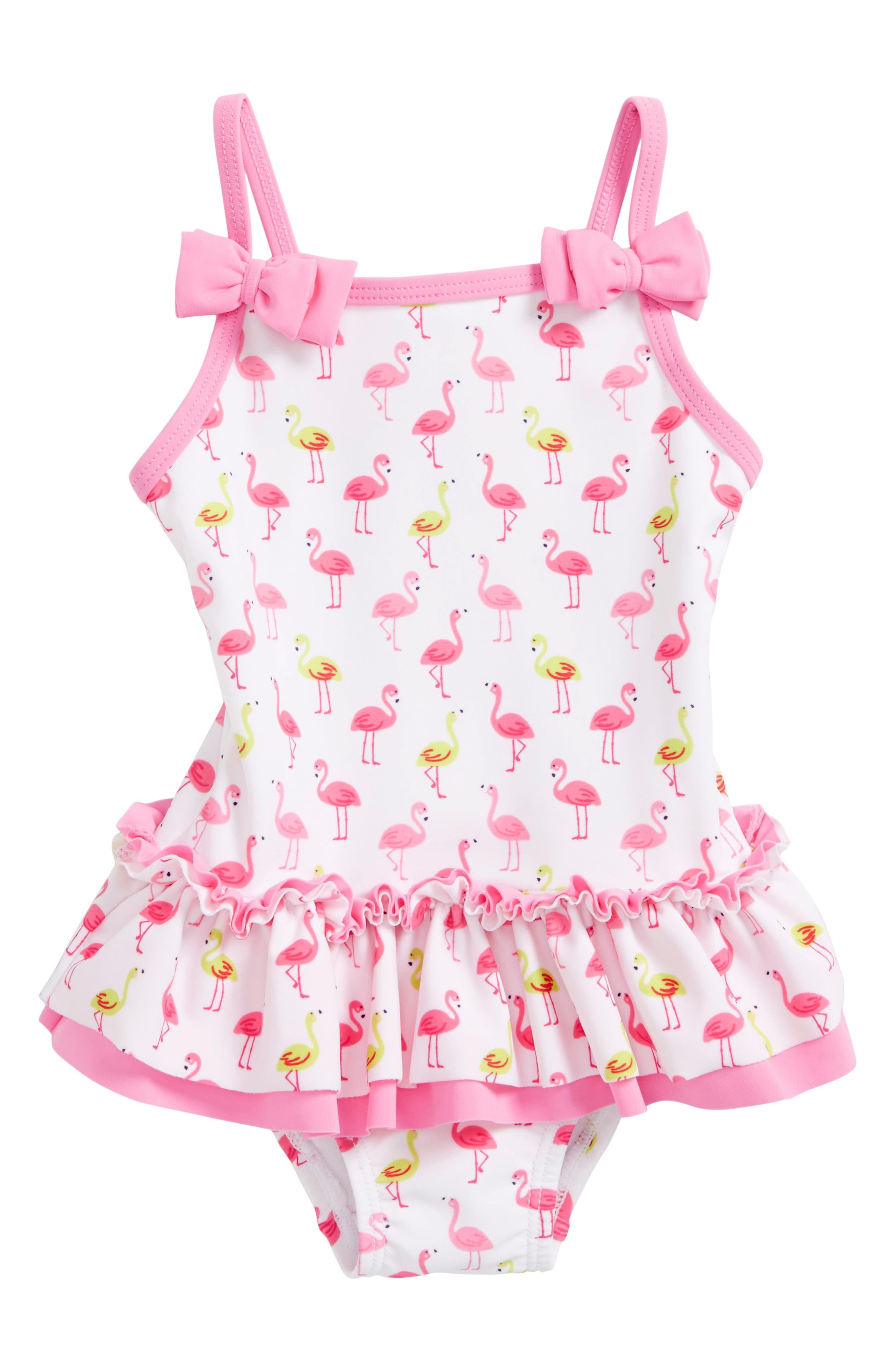 Flamingo Print One-Piece Swimsuit,                         Main,                         color,