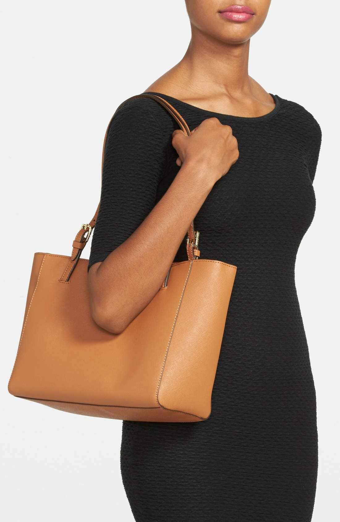 'Small York' Saffiano Leather Buckle Tote,                             Alternate thumbnail 33, color,