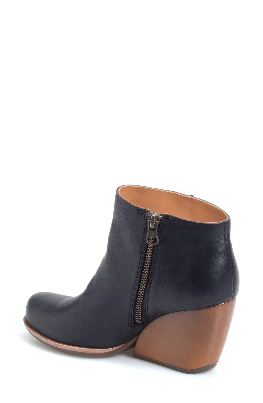 'Natalya' Burnished Leather Demi Wedge Boot,                             Alternate thumbnail 5, color,                             001