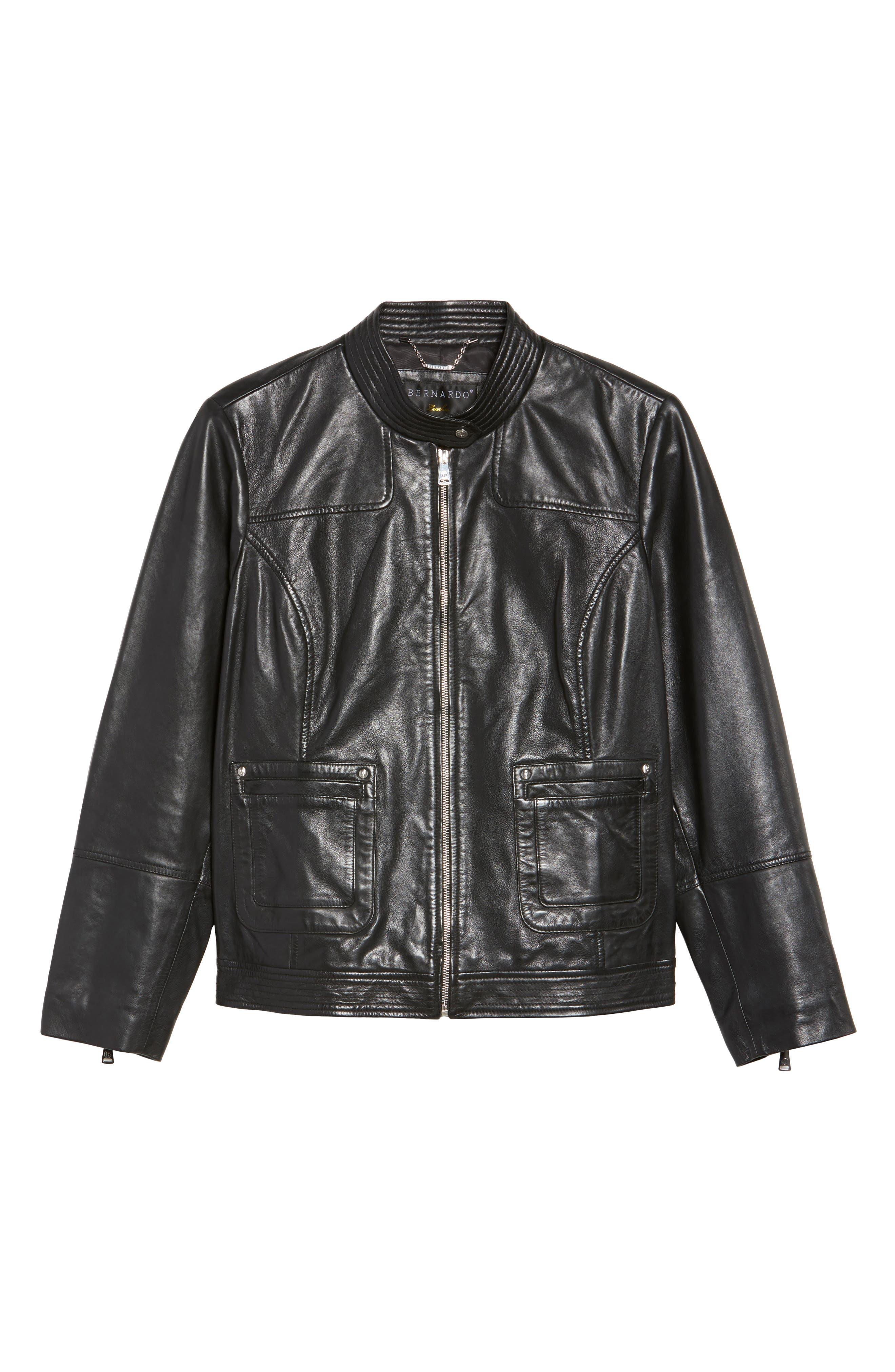 Kirwin Sheepskin Leather Jacket,                             Alternate thumbnail 5, color,                             001