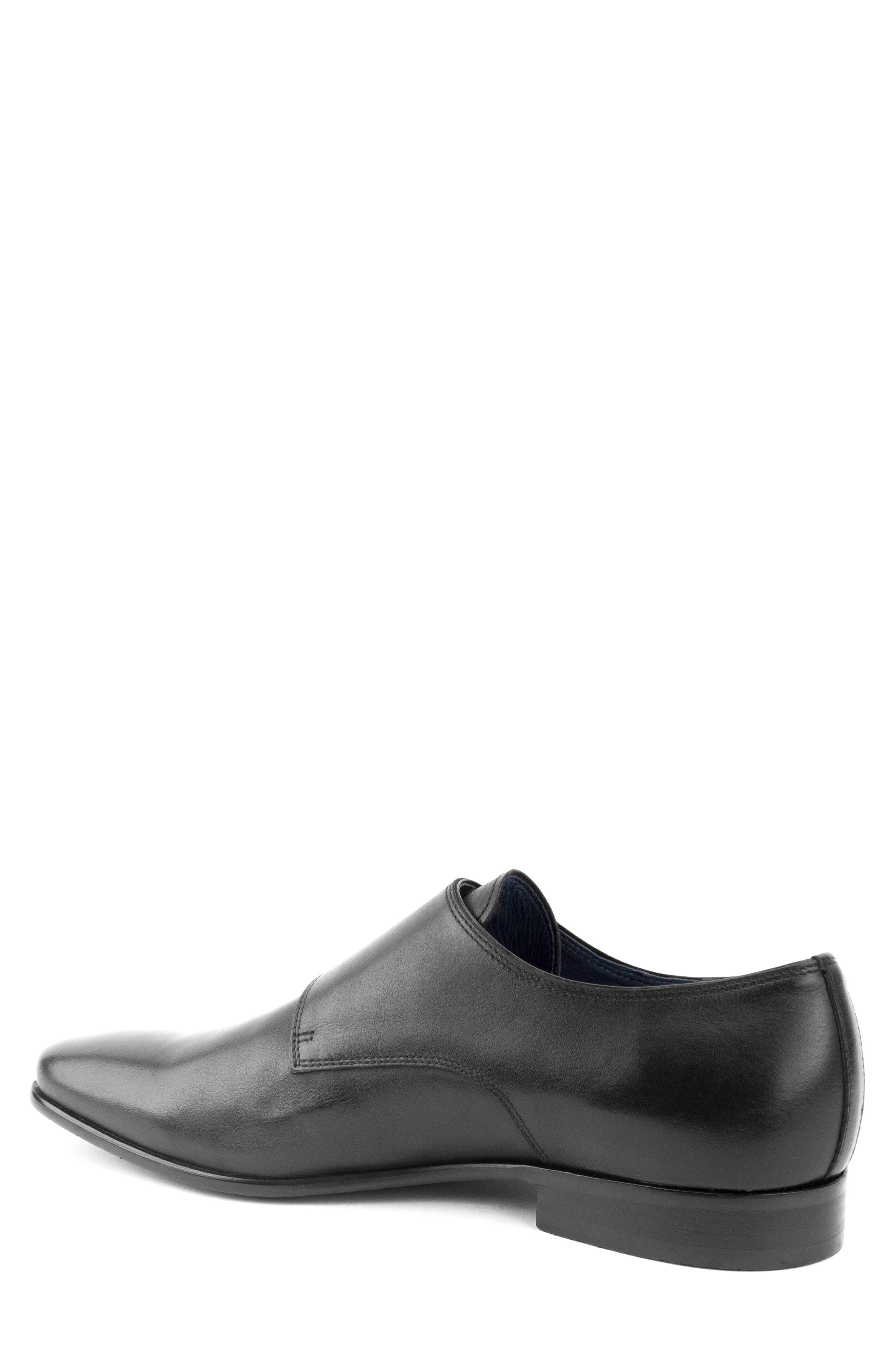 Luke Double Buckle Monk Shoe,                             Alternate thumbnail 2, color,                             BLACK LEATHER