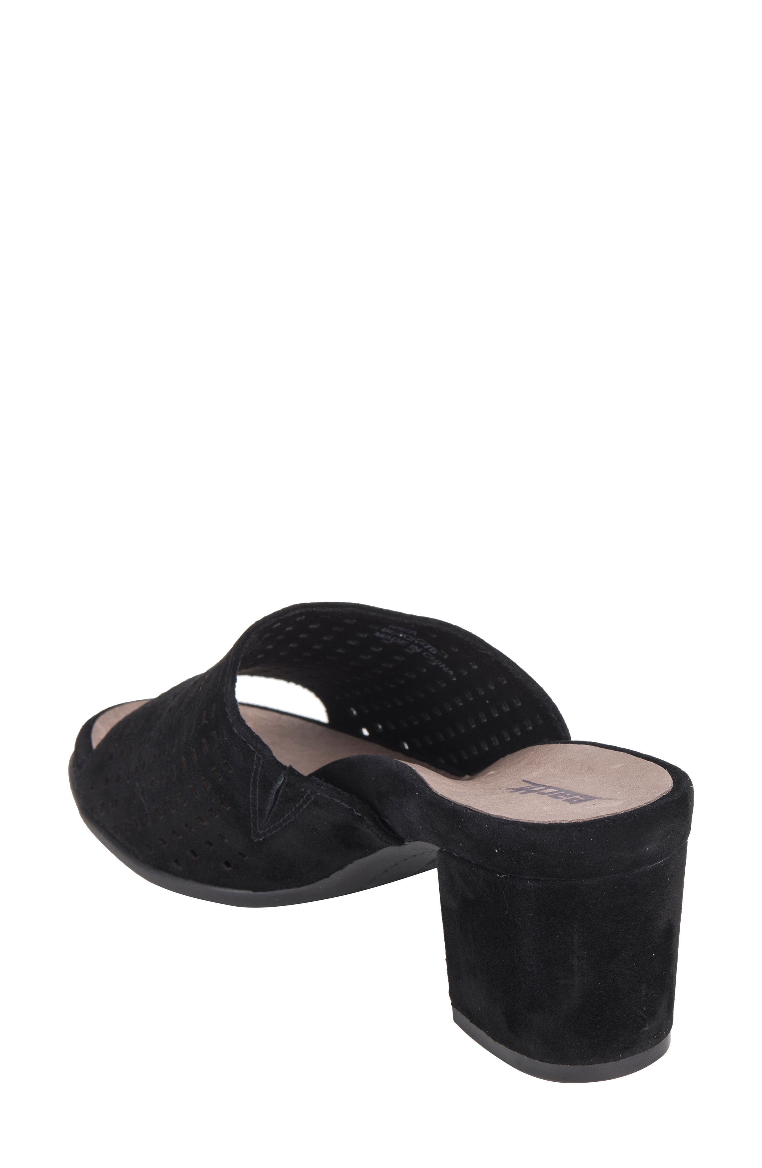Ibiza Perforated Sandal,                             Alternate thumbnail 2, color,                             BLACK SUEDE