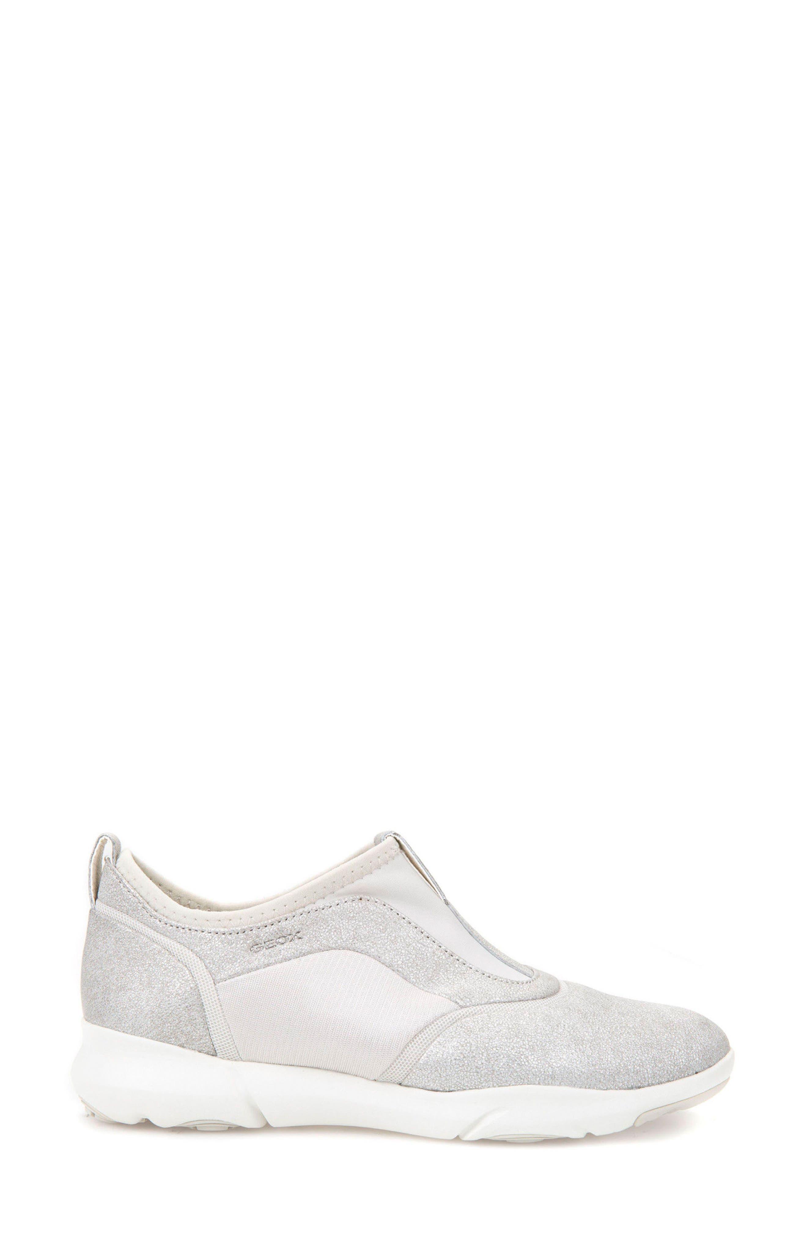 Nebula S Slip-On Sneaker,                             Alternate thumbnail 3, color,                             SILVER LEATHER