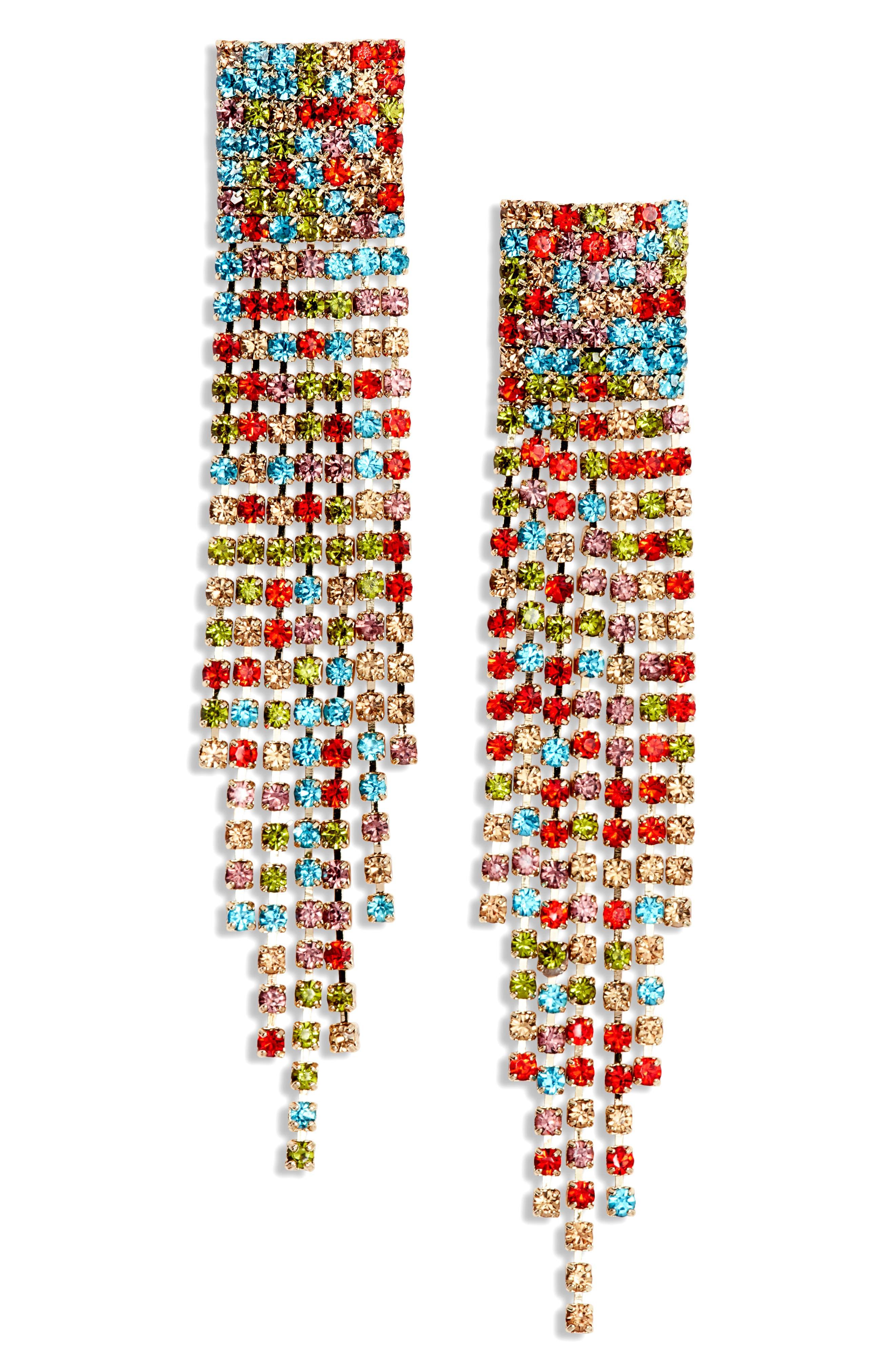 AREA STARS Fringe Earrings in Gold/ Rainbow