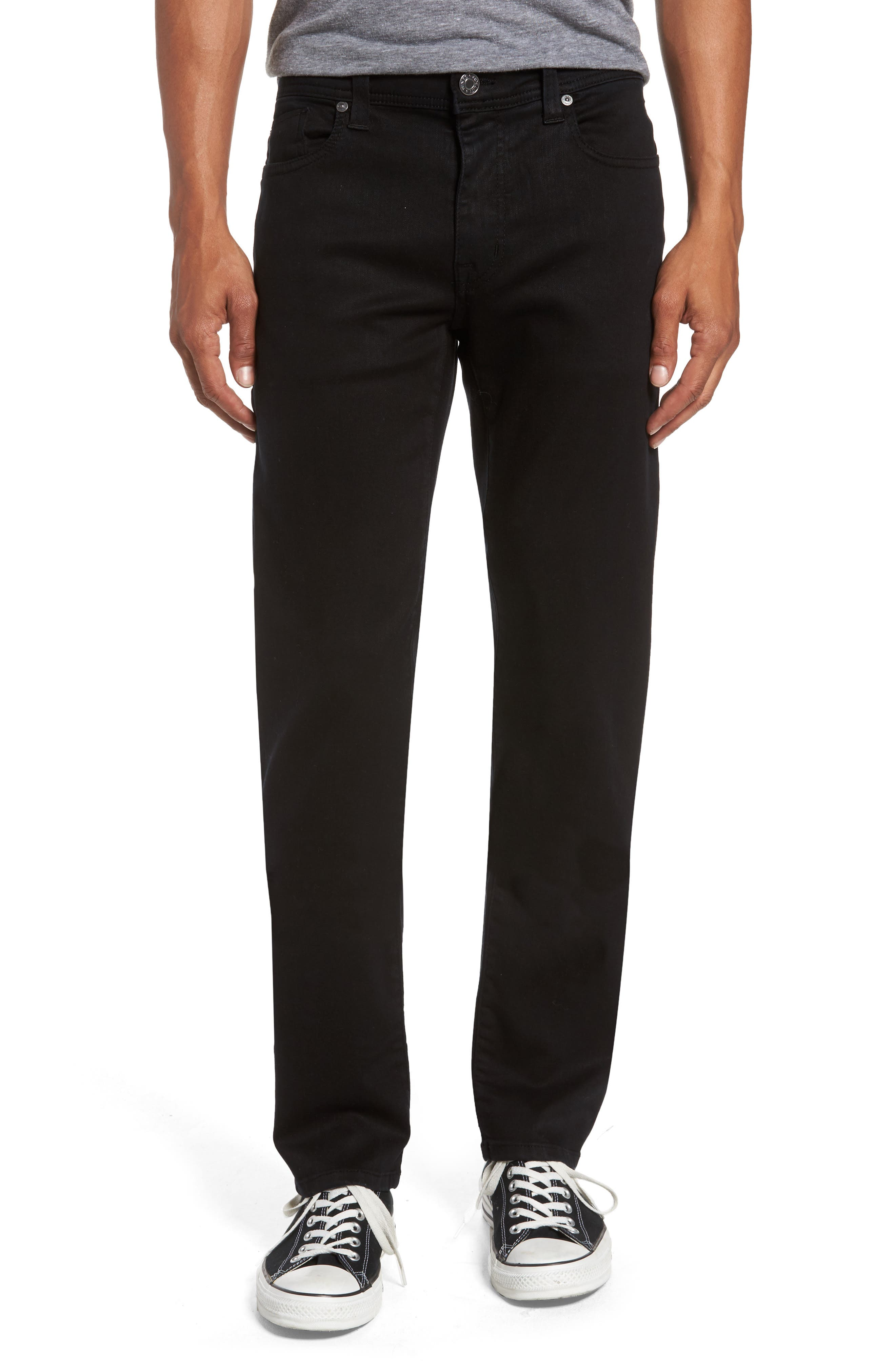 Jimmy Lumina Slim Straight Leg Twill Pants,                         Main,                         color, BLACK