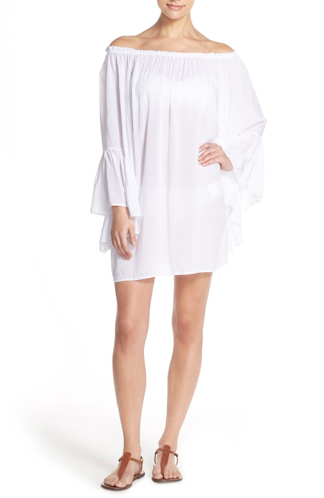 Bell Sleeve Cover-Up Tunic Dress,                             Main thumbnail 3, color,