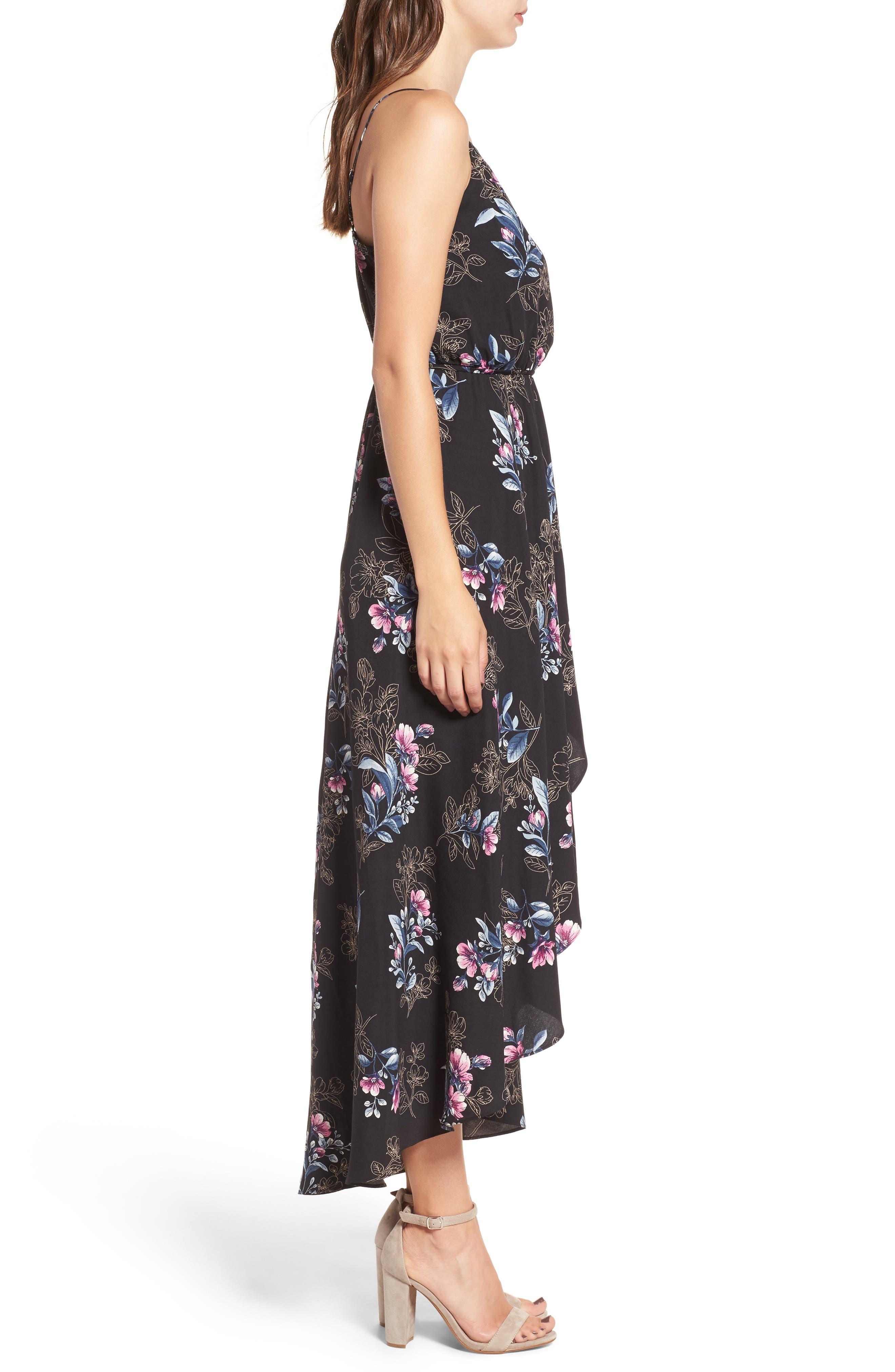 Wrap Maxi Dress,                             Alternate thumbnail 3, color,                             001