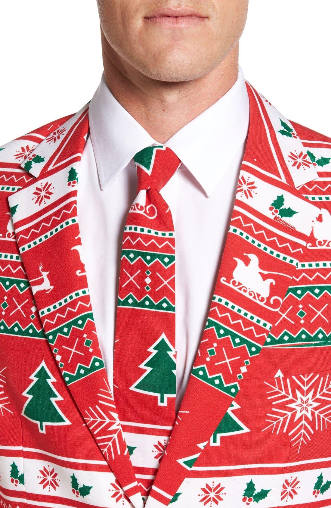 'Winter Wonderland' Trim Fit Two-Piece Suit with Tie,                             Alternate thumbnail 4, color,                             601