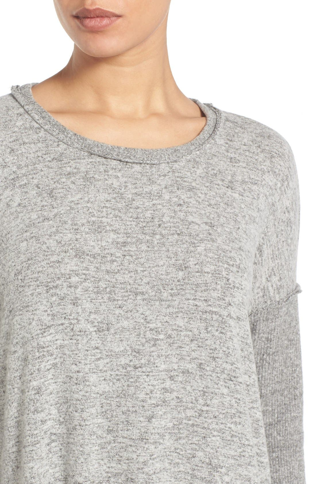Rib Long Sleeve Fuzzy Top,                             Alternate thumbnail 4, color,                             LIGHT HEATHER GREY