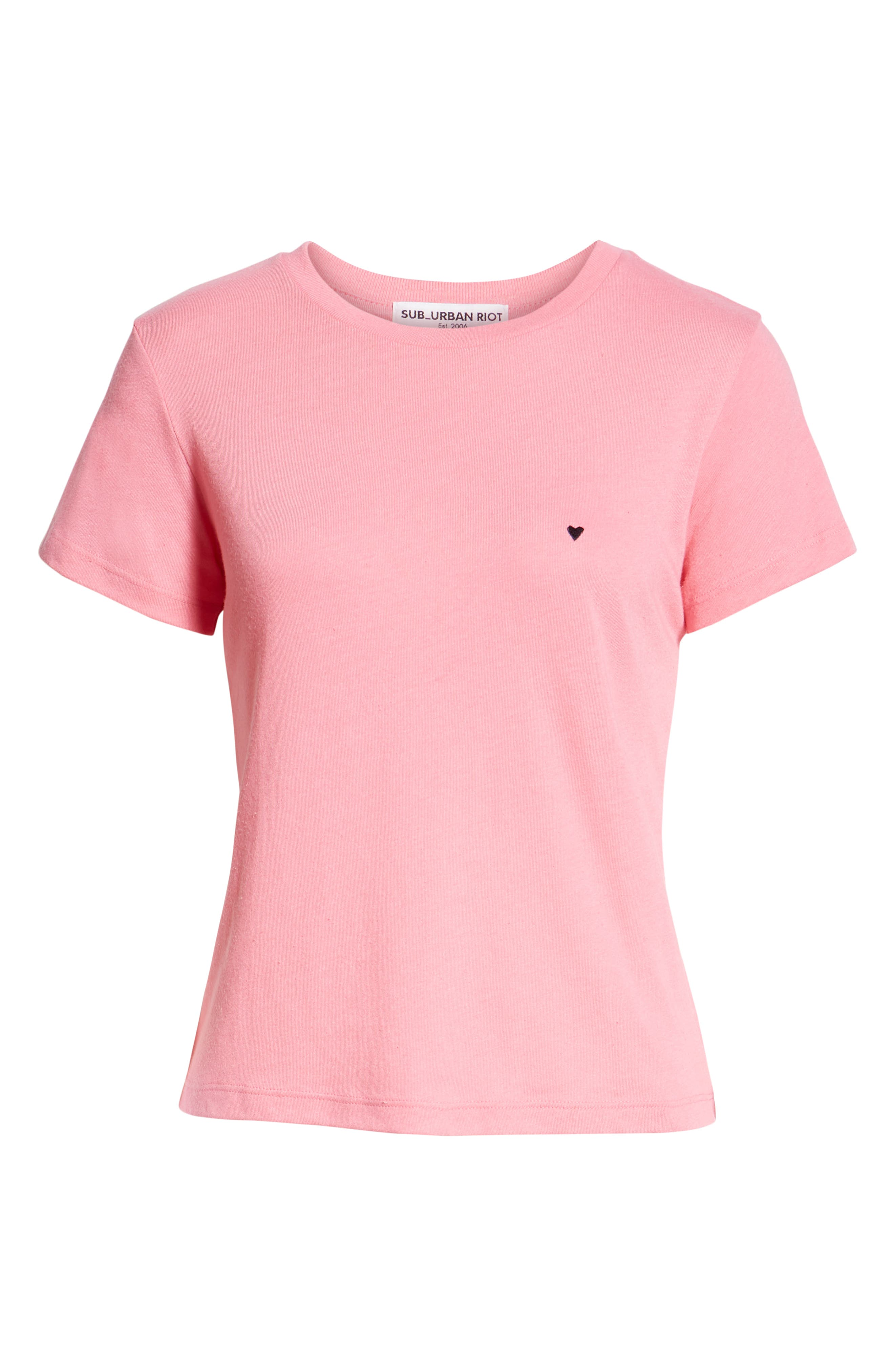 Embroidered Heart Tee,                             Alternate thumbnail 6, color,                             PINK