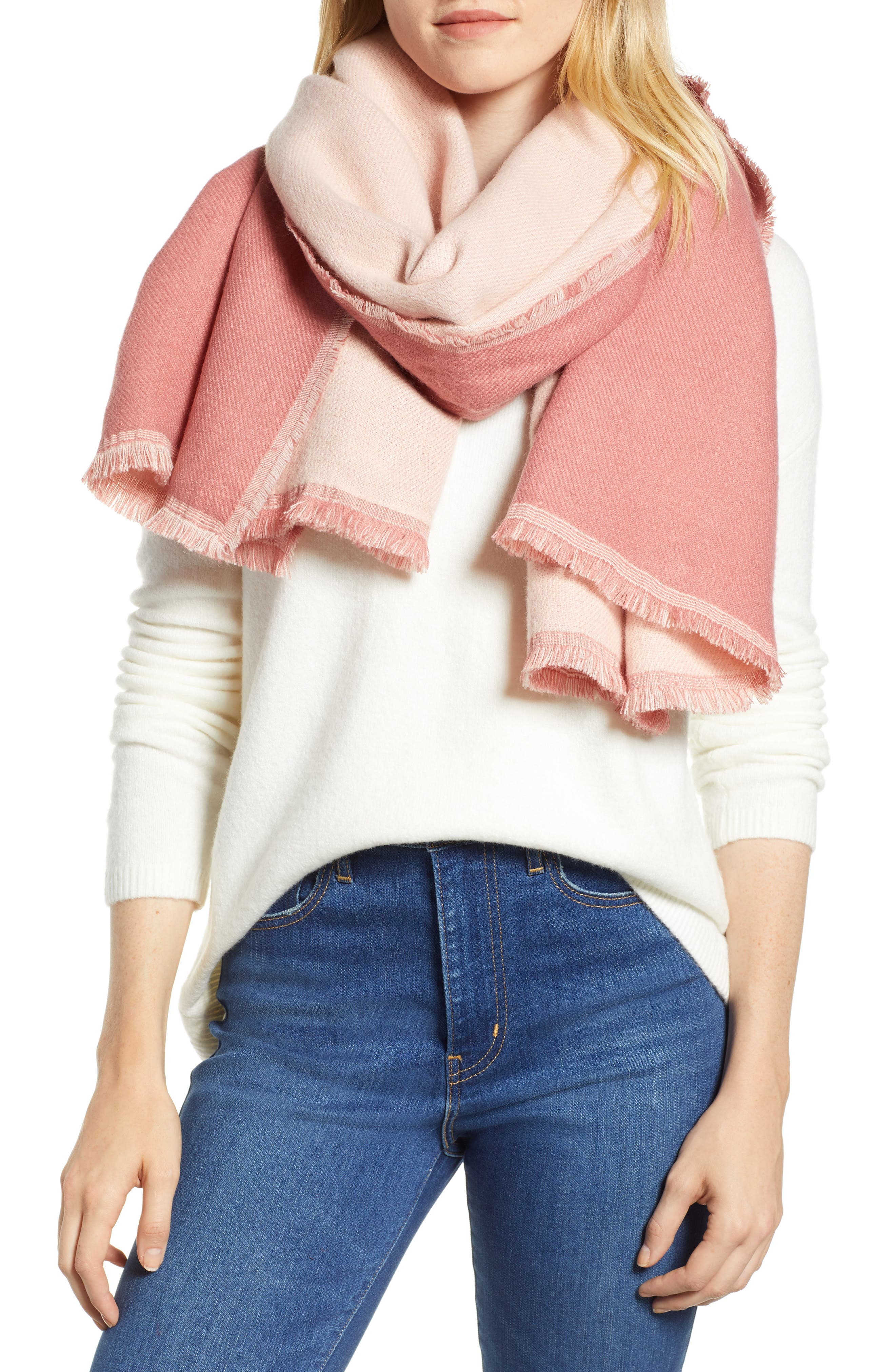 x Atlantic-Pacific Double Sided Blanket Wrap,                             Main thumbnail 1, color,                             PINK COMBO