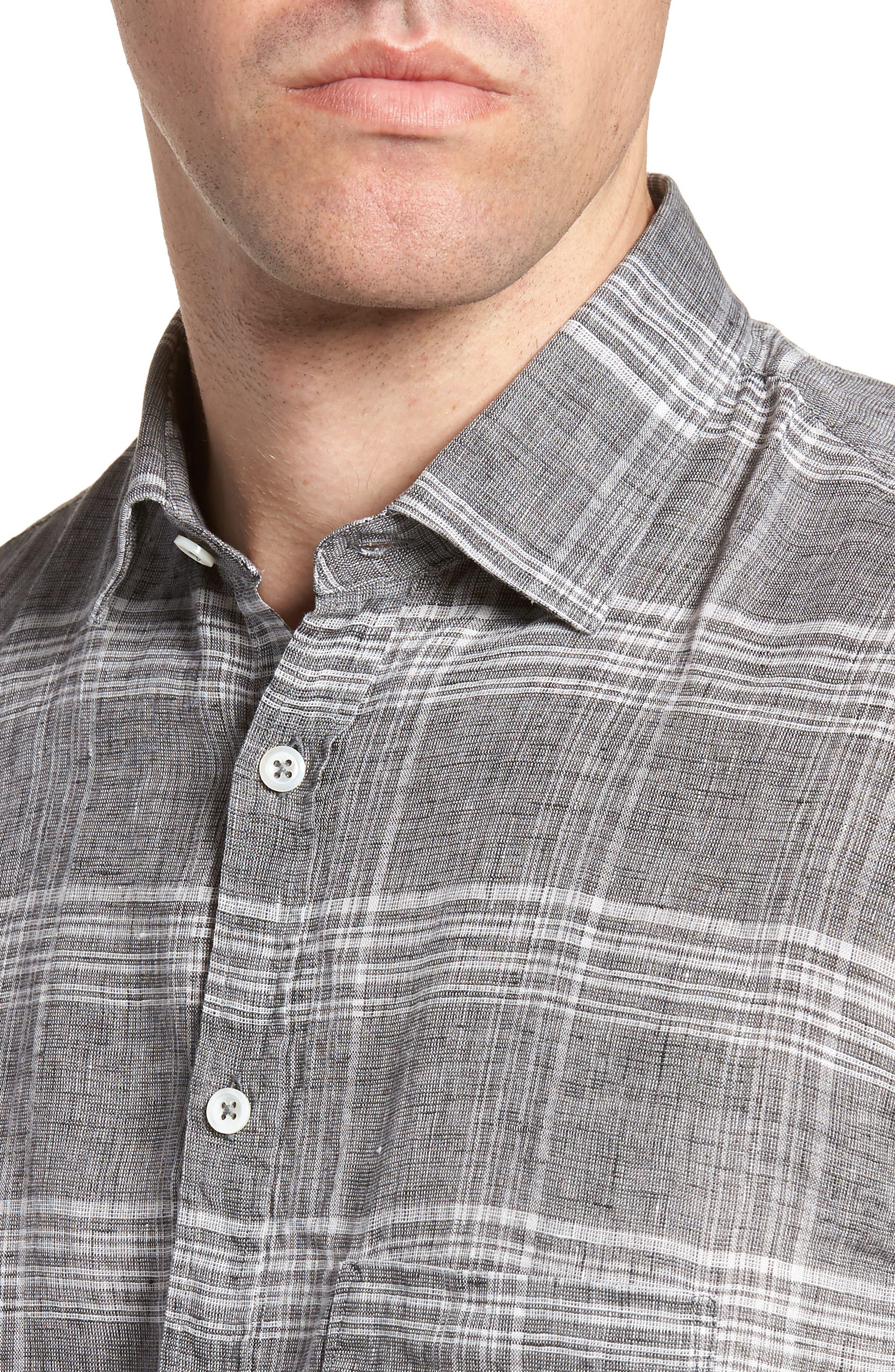 John Standard Fit Plaid Linen Sport Shirt,                             Alternate thumbnail 4, color,                             061