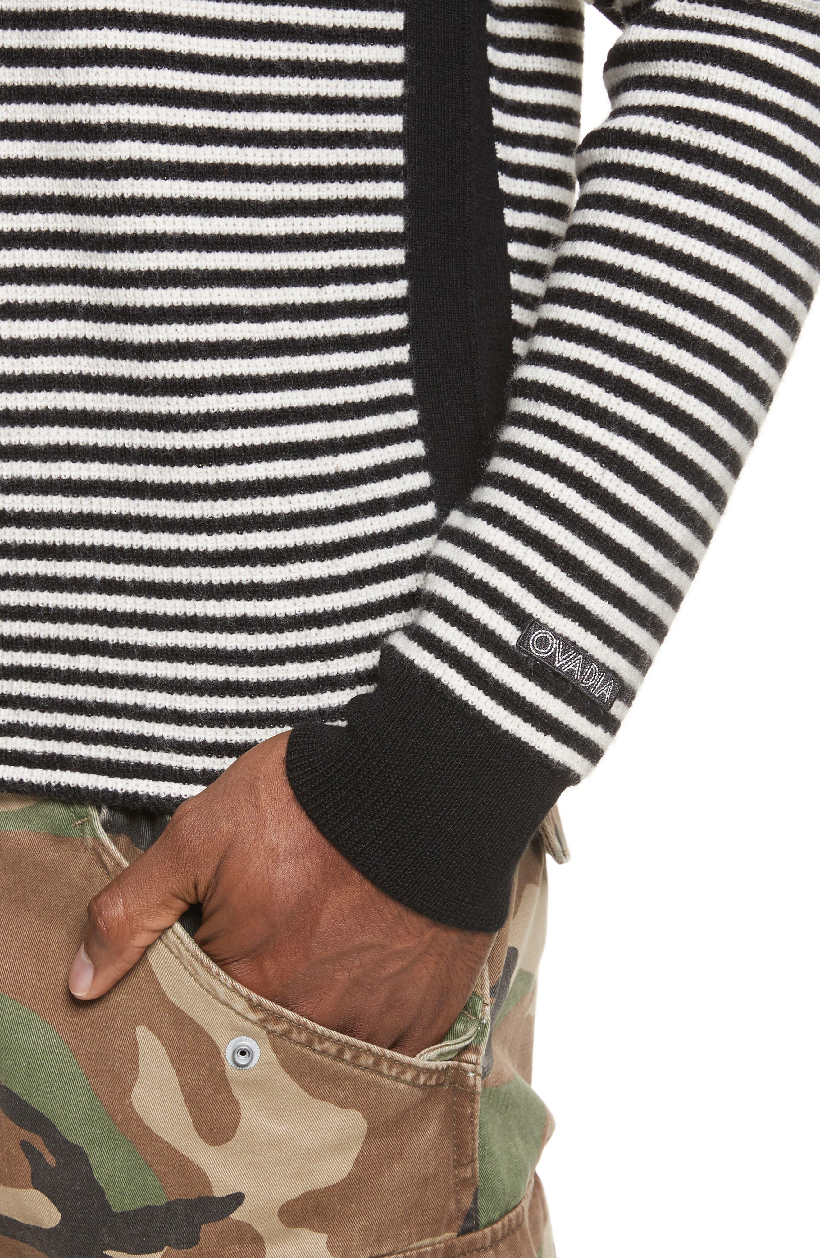 Stripe Waffle Knit Wool Sweater,                             Alternate thumbnail 4, color,                             006