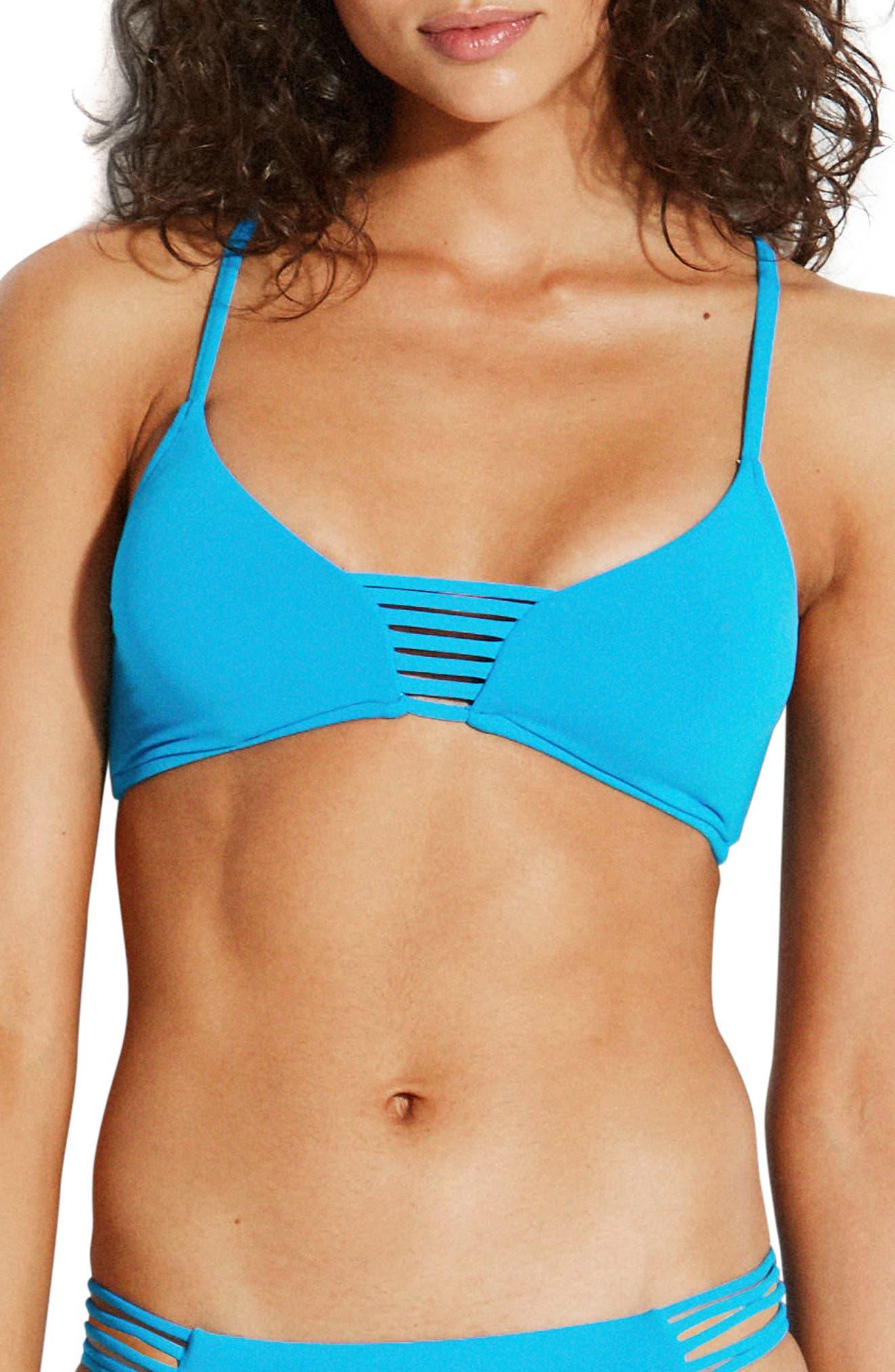 Seafolly Active Bikini Top, US / 16 AU - Blue