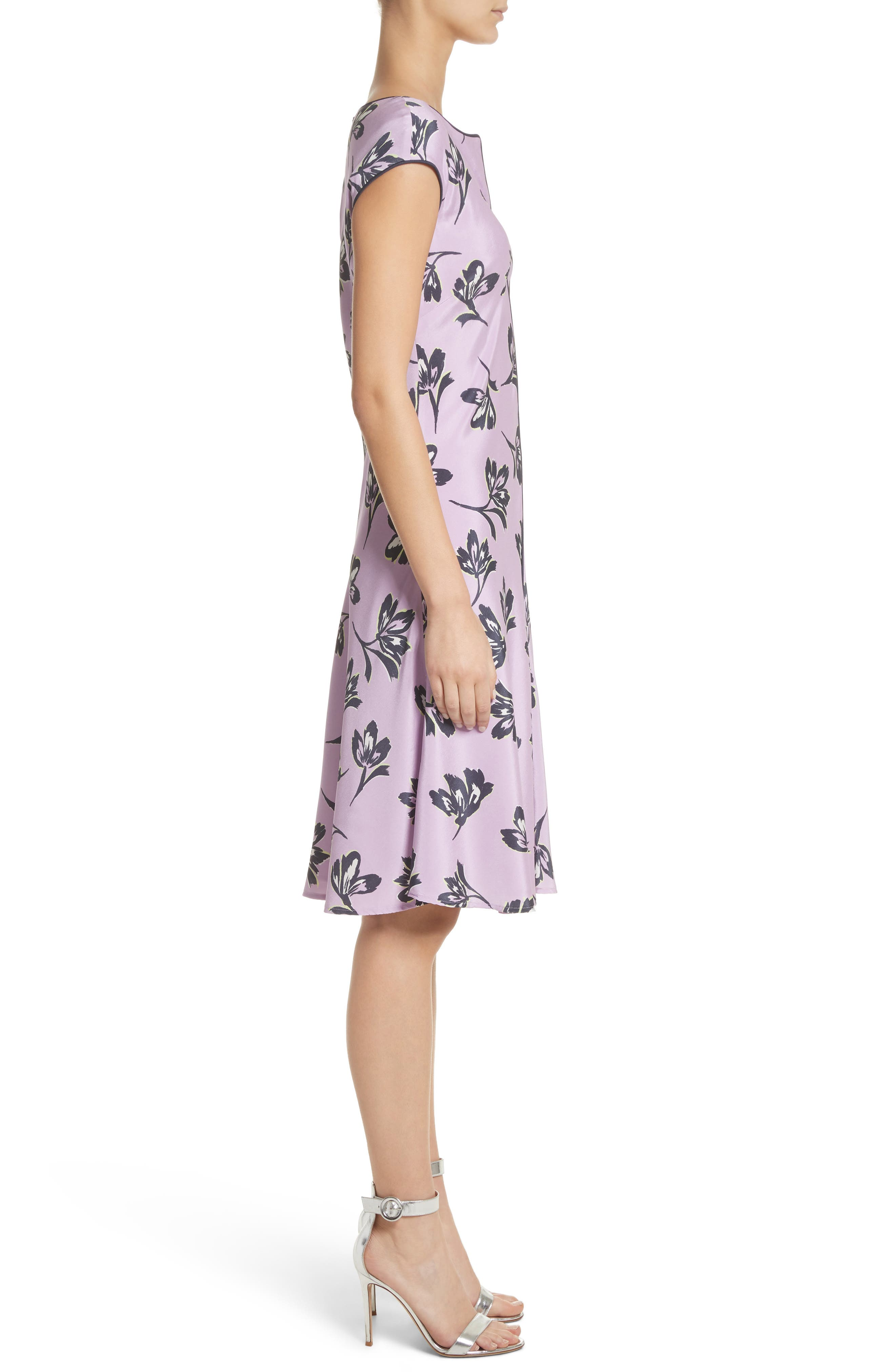 Floral Print Stretch Silk Dress,                             Alternate thumbnail 3, color,