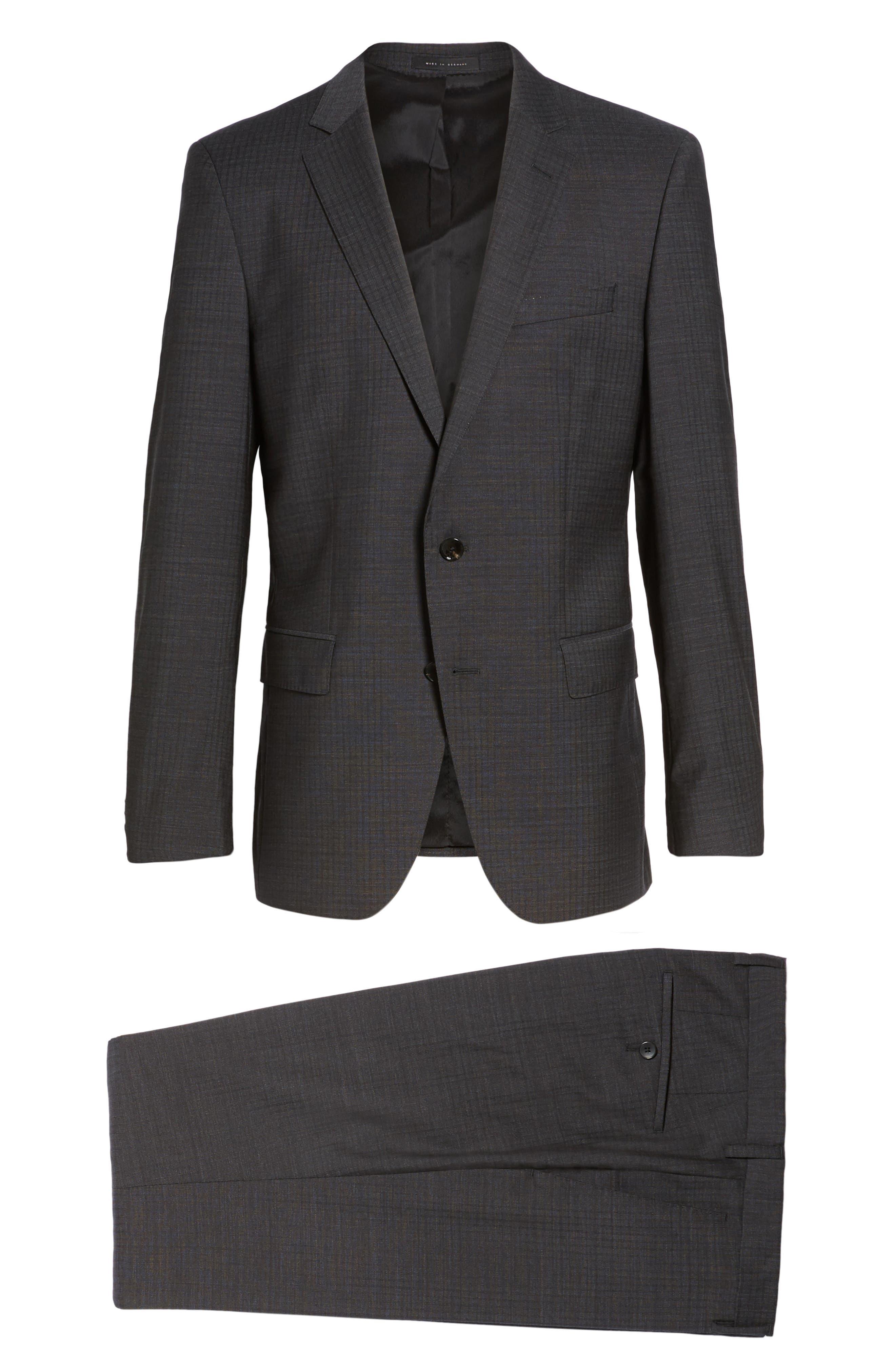 Huge/Genius Trim Fit Check Wool Suit,                             Alternate thumbnail 8, color,                             061