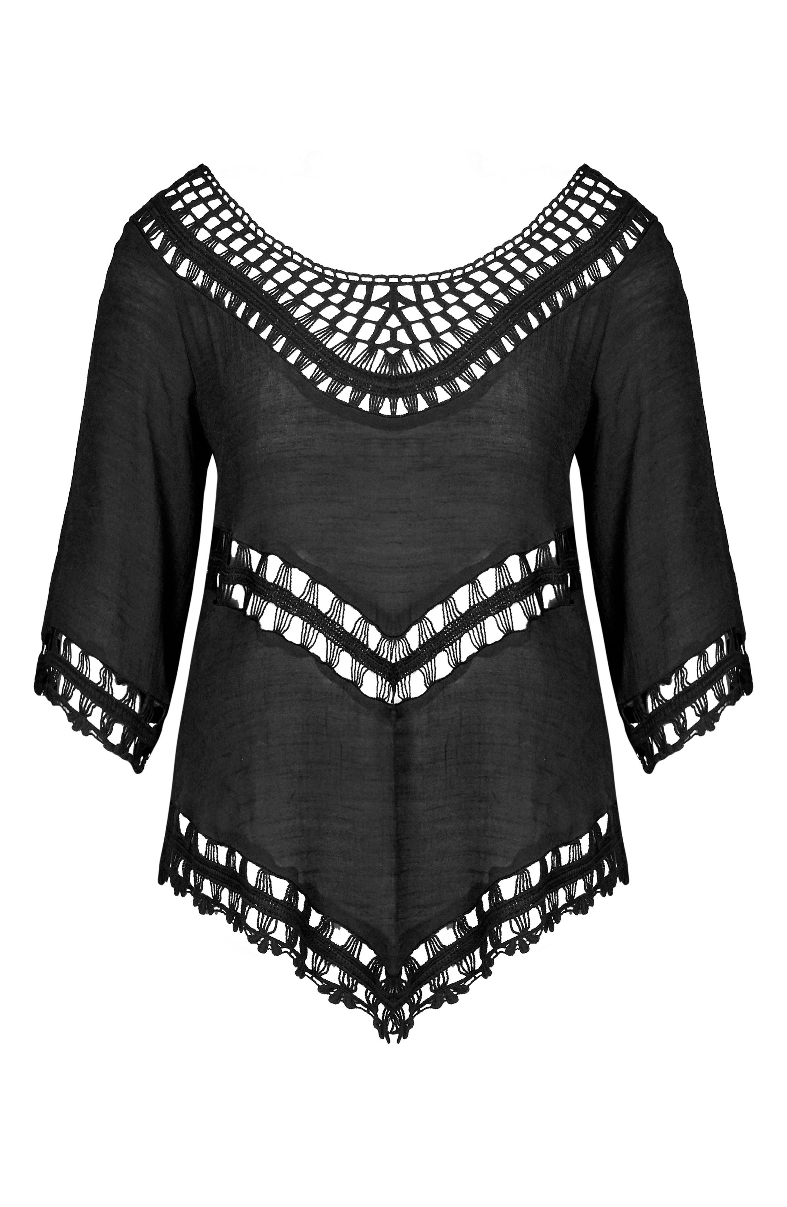 Sweet Vibe Crochet Top,                             Alternate thumbnail 3, color,                             BLACK