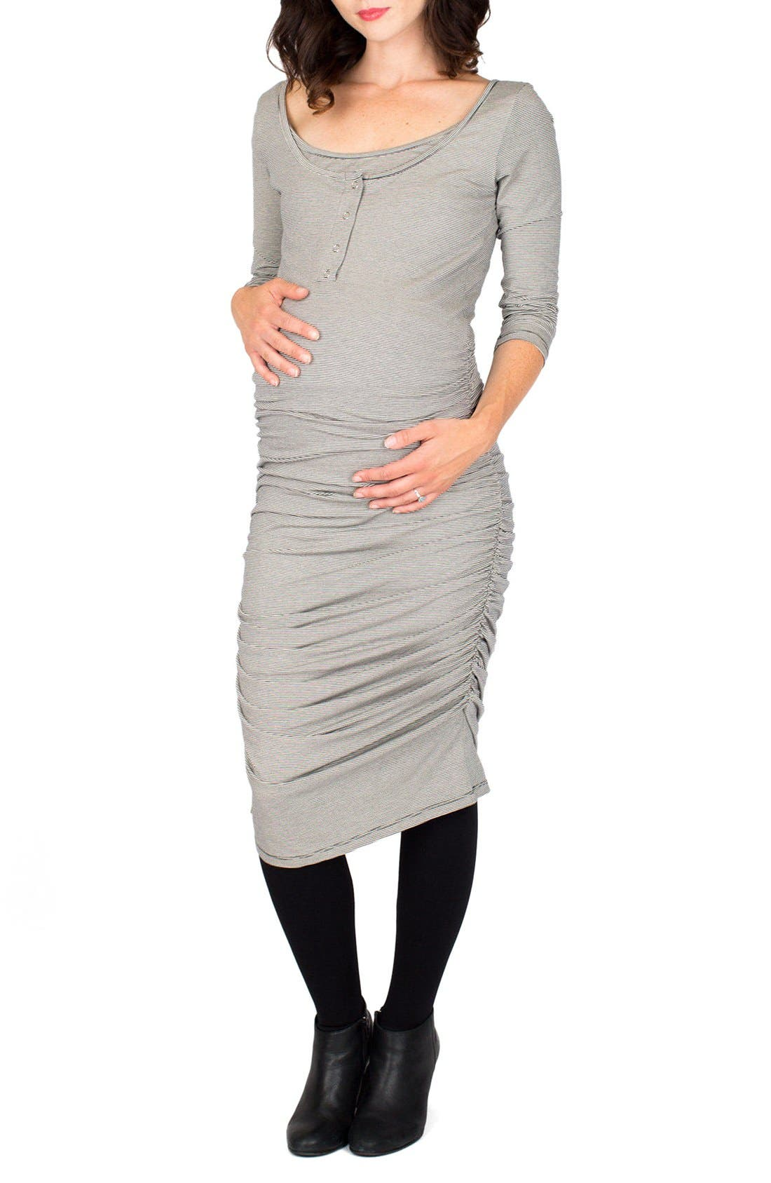 Nom Henley Maternity Dress, Main, color, CHARCOAL MICROSTRIPE