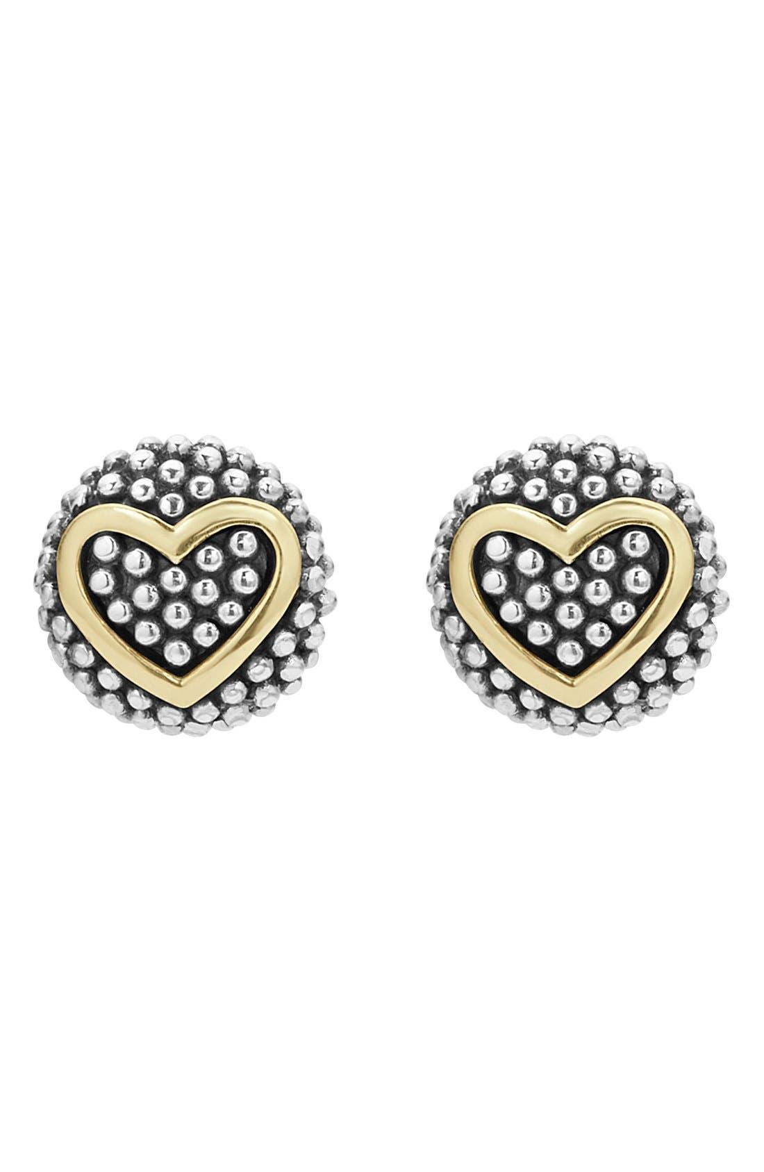 'Caviar' Heart Stud Earrings,                             Main thumbnail 1, color,                             SILVER/ GOLD