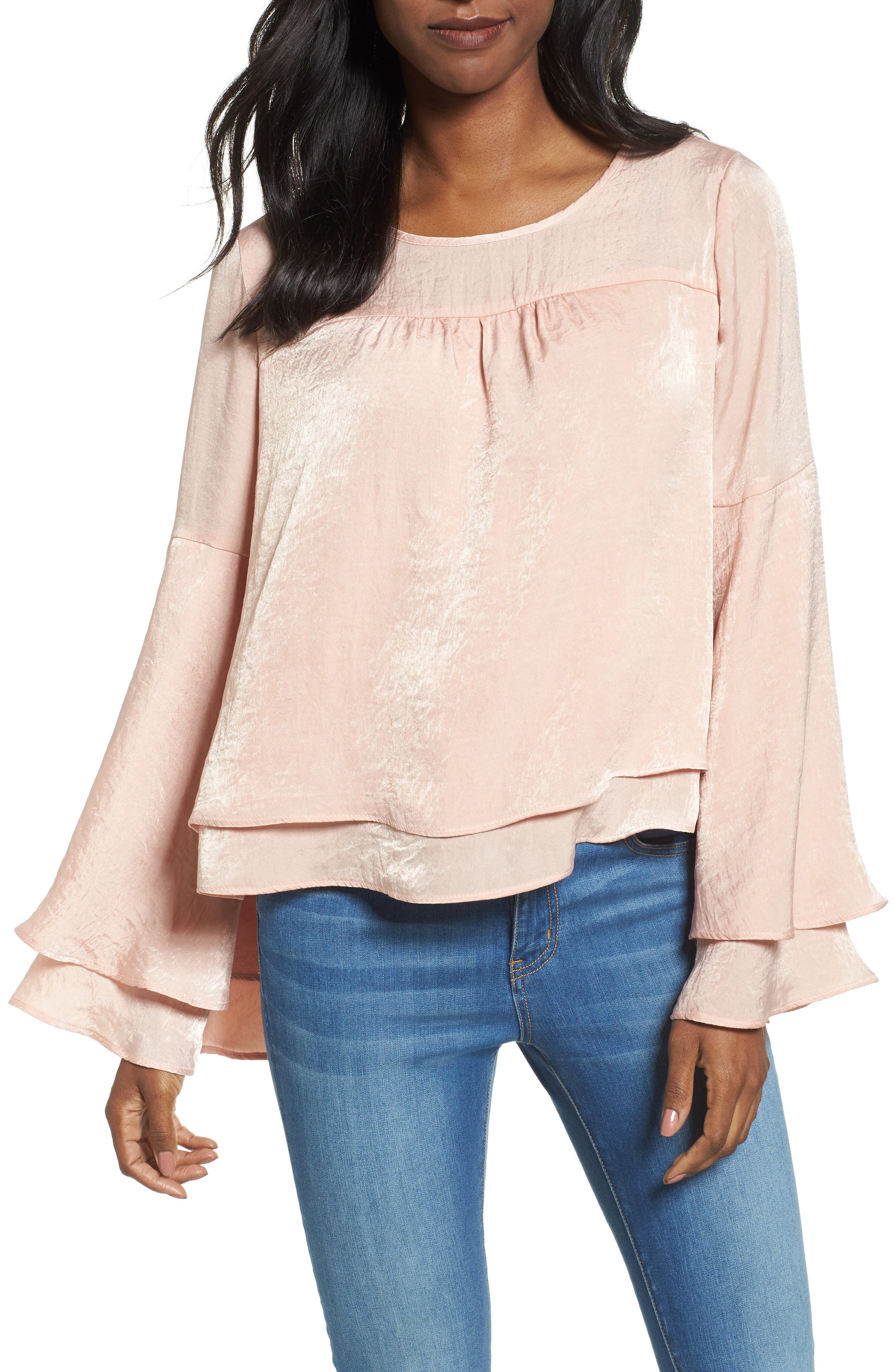 Bell Sleeve Hammered Satin Blouse,                             Main thumbnail 3, color,