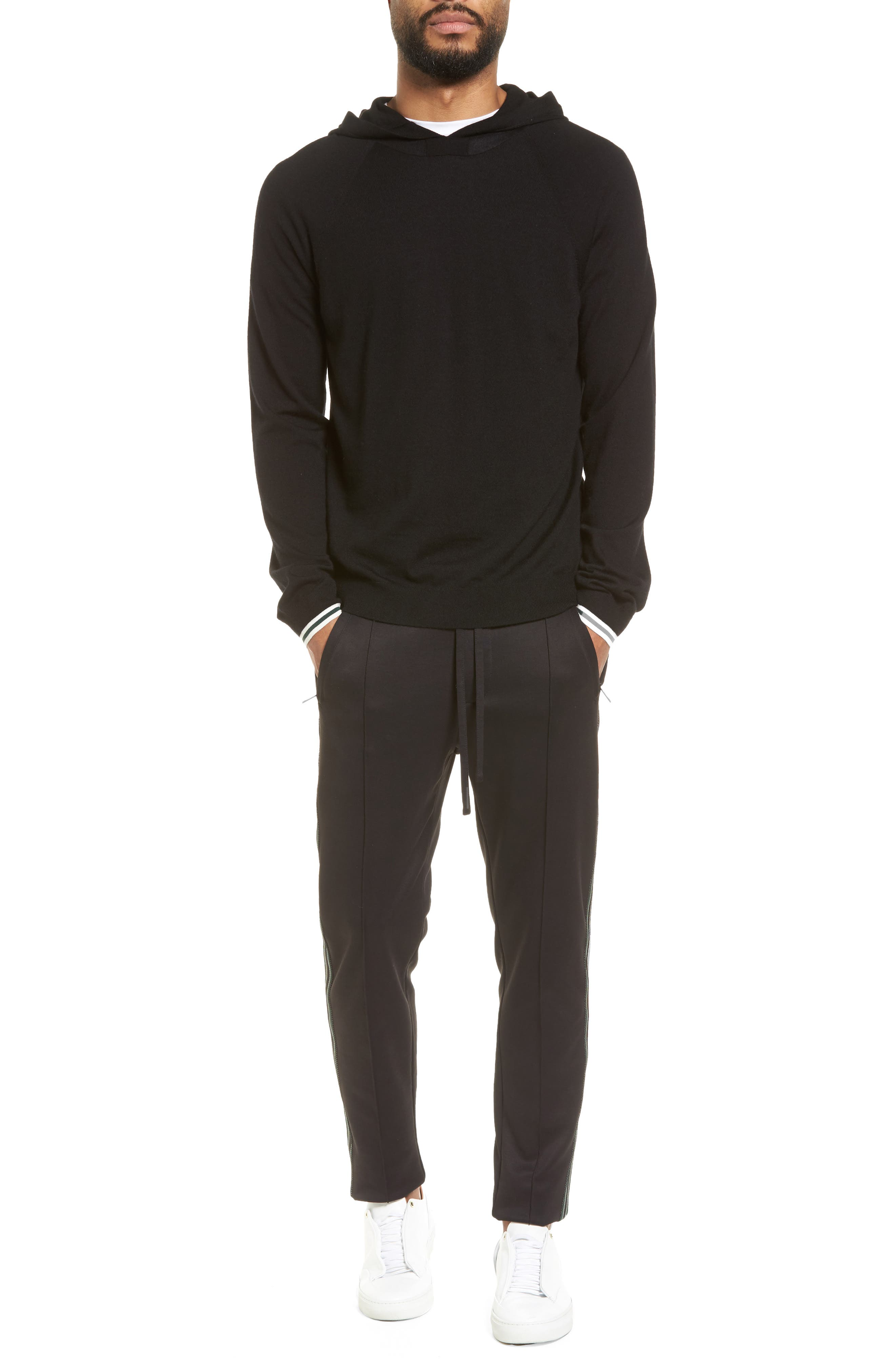Slim Fit Track Pants,                             Alternate thumbnail 7, color,                             BLACK