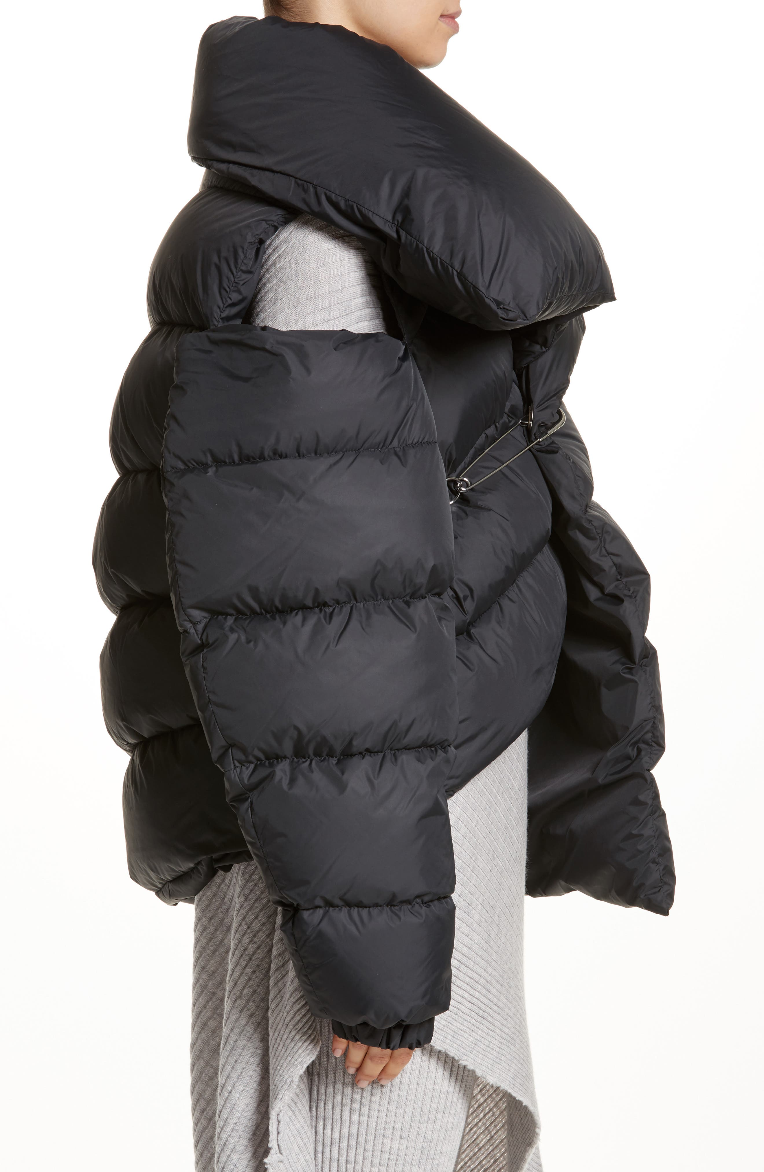 Marques'Almeida Asymmetrical Down Puffer Coat with Safety Pin Closure,                             Alternate thumbnail 3, color,                             001