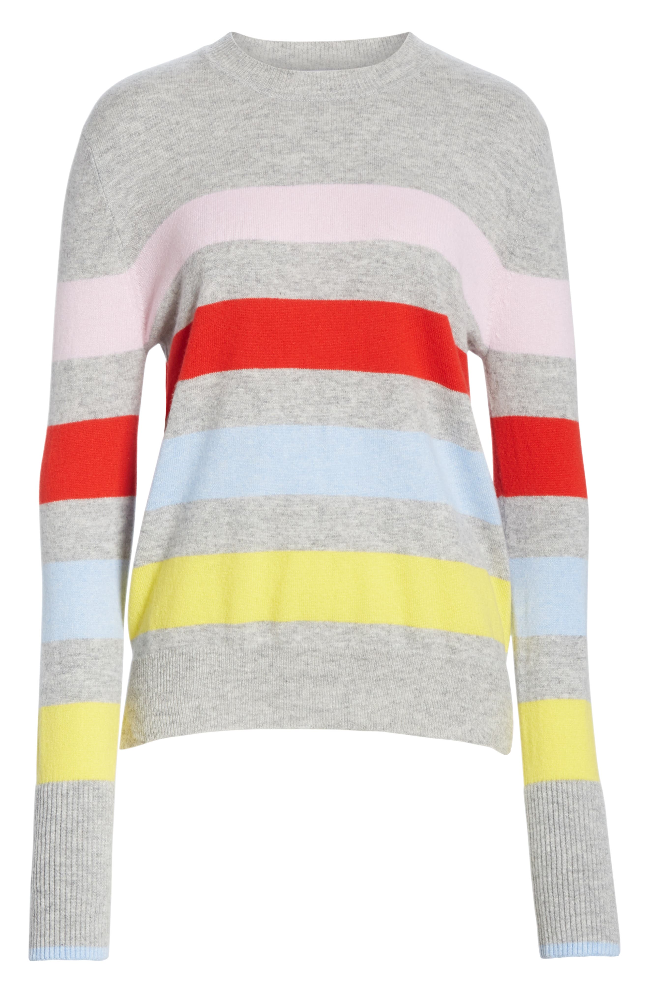 AAA Candy Stripe Cashmere Sweater,                             Alternate thumbnail 6, color,                             020
