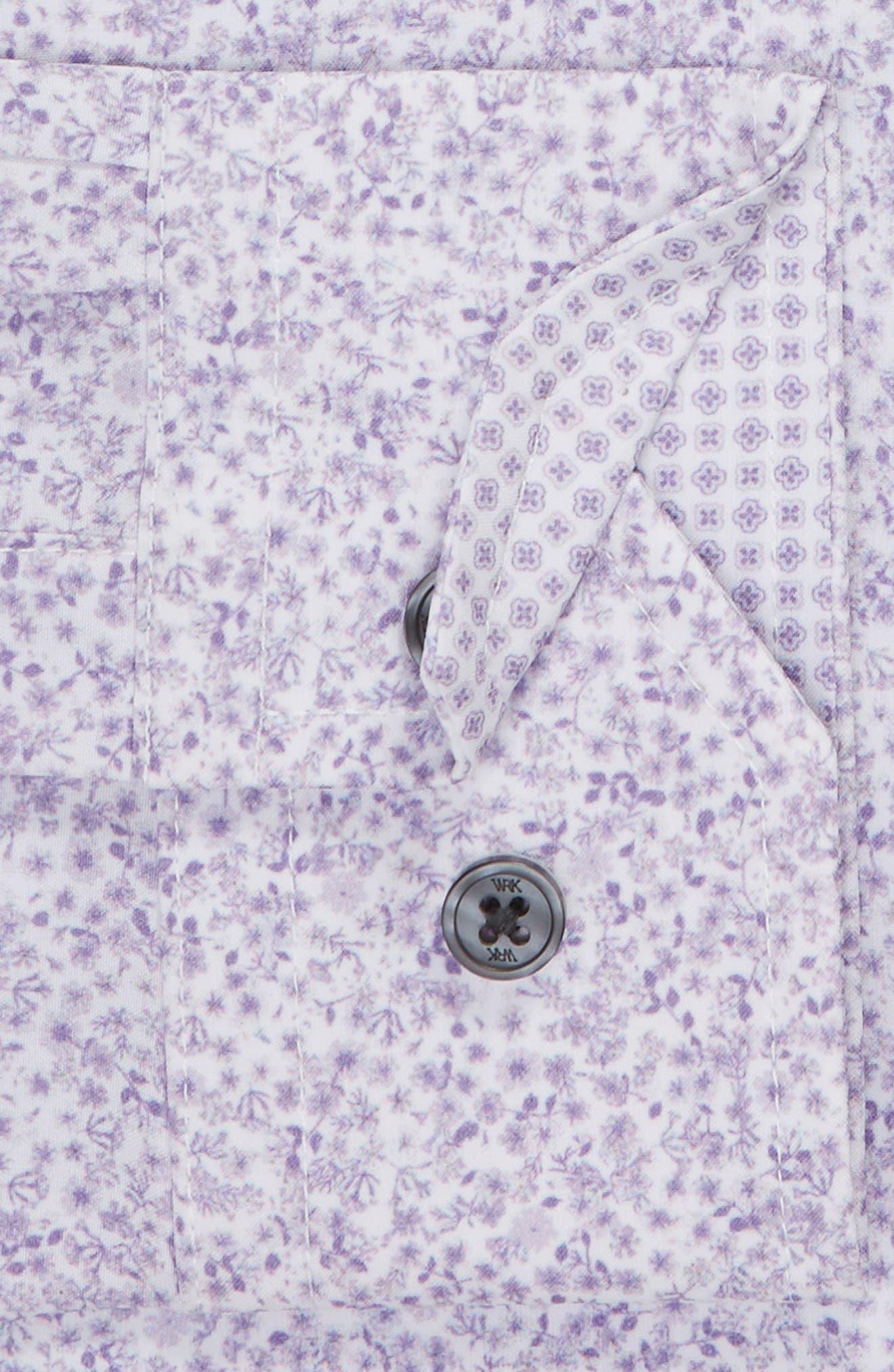 Trim Fit Stretch Floral Dress Shirt,                             Alternate thumbnail 6, color,                             LILAC