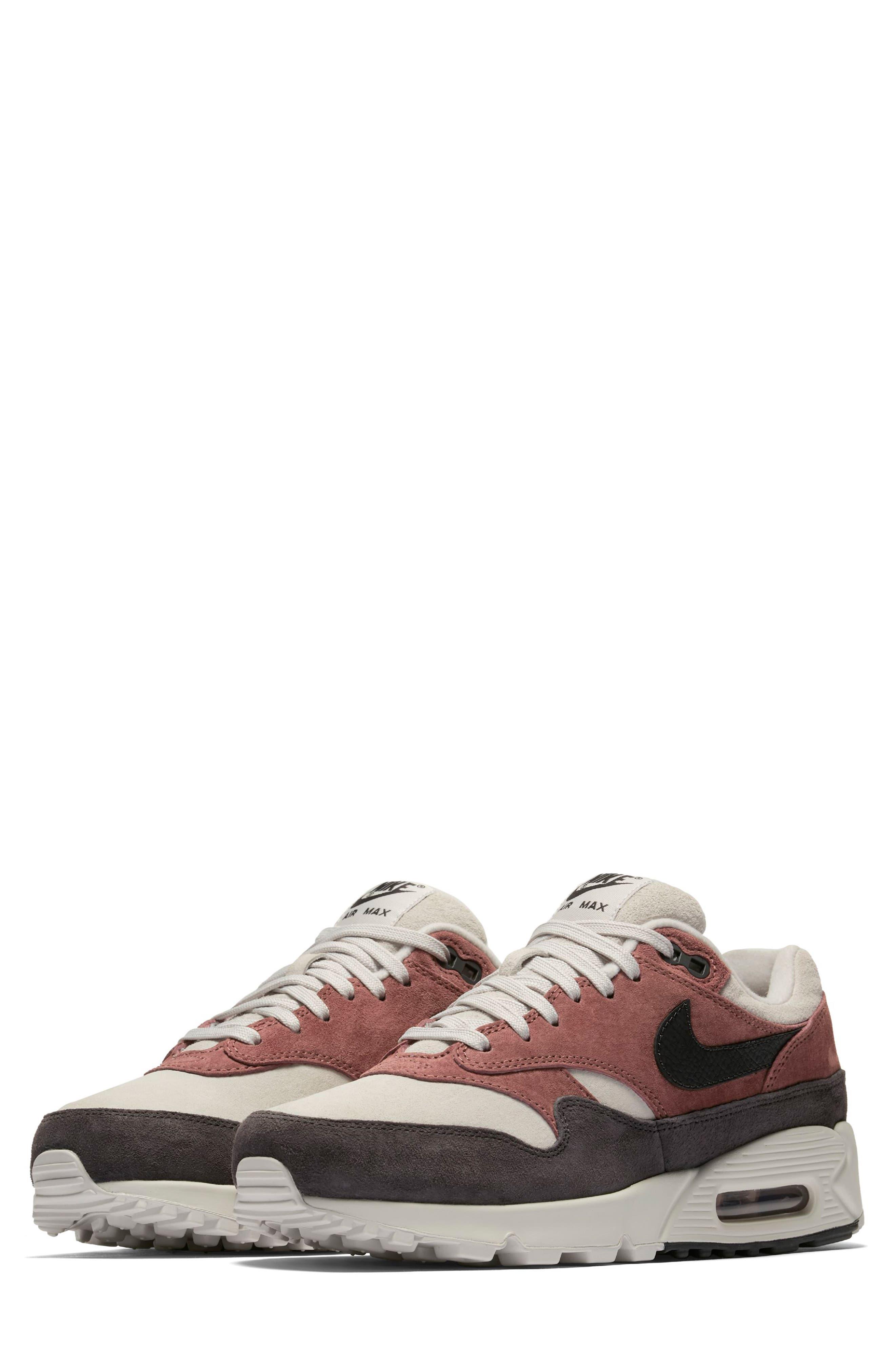 Air Max 90/1 Sneaker,                             Main thumbnail 1, color,                             RED SEPIA/ OIL GREY-VAST GREY
