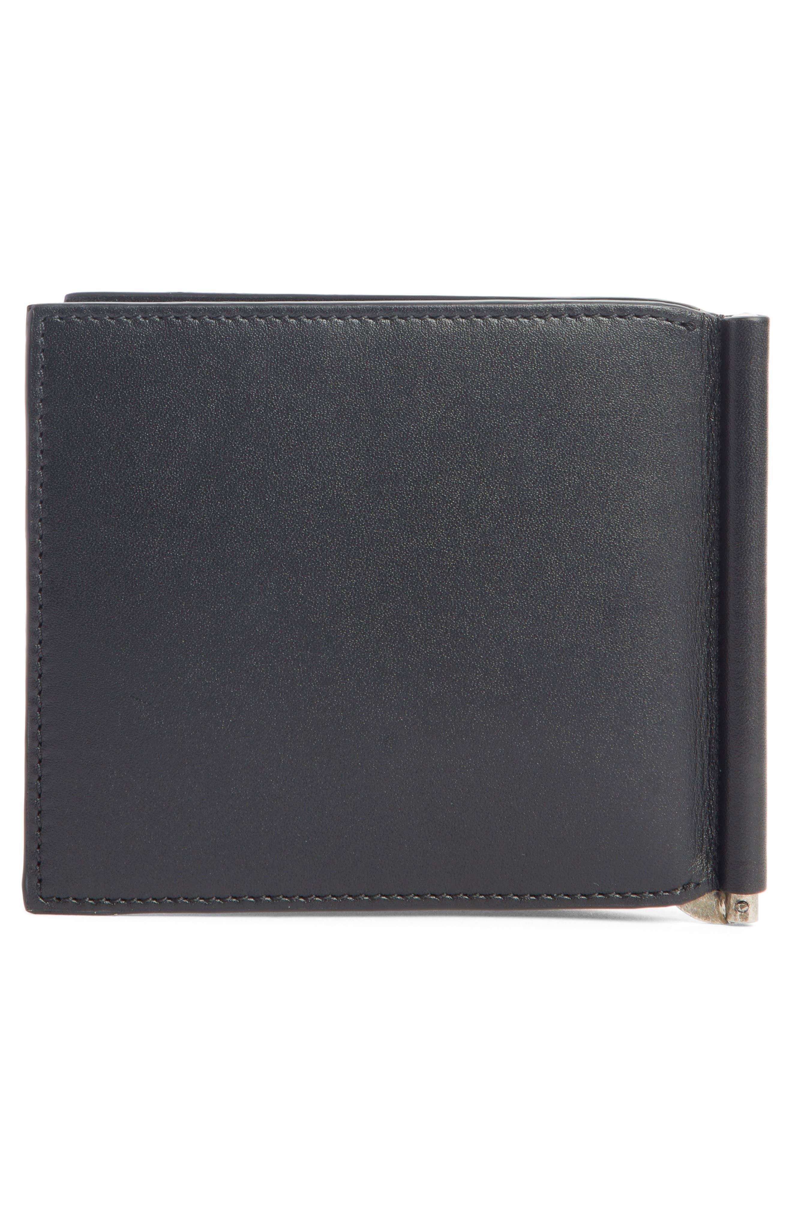 Paris Leather Monery Clip Card Case,                             Alternate thumbnail 3, color,                             BLACK