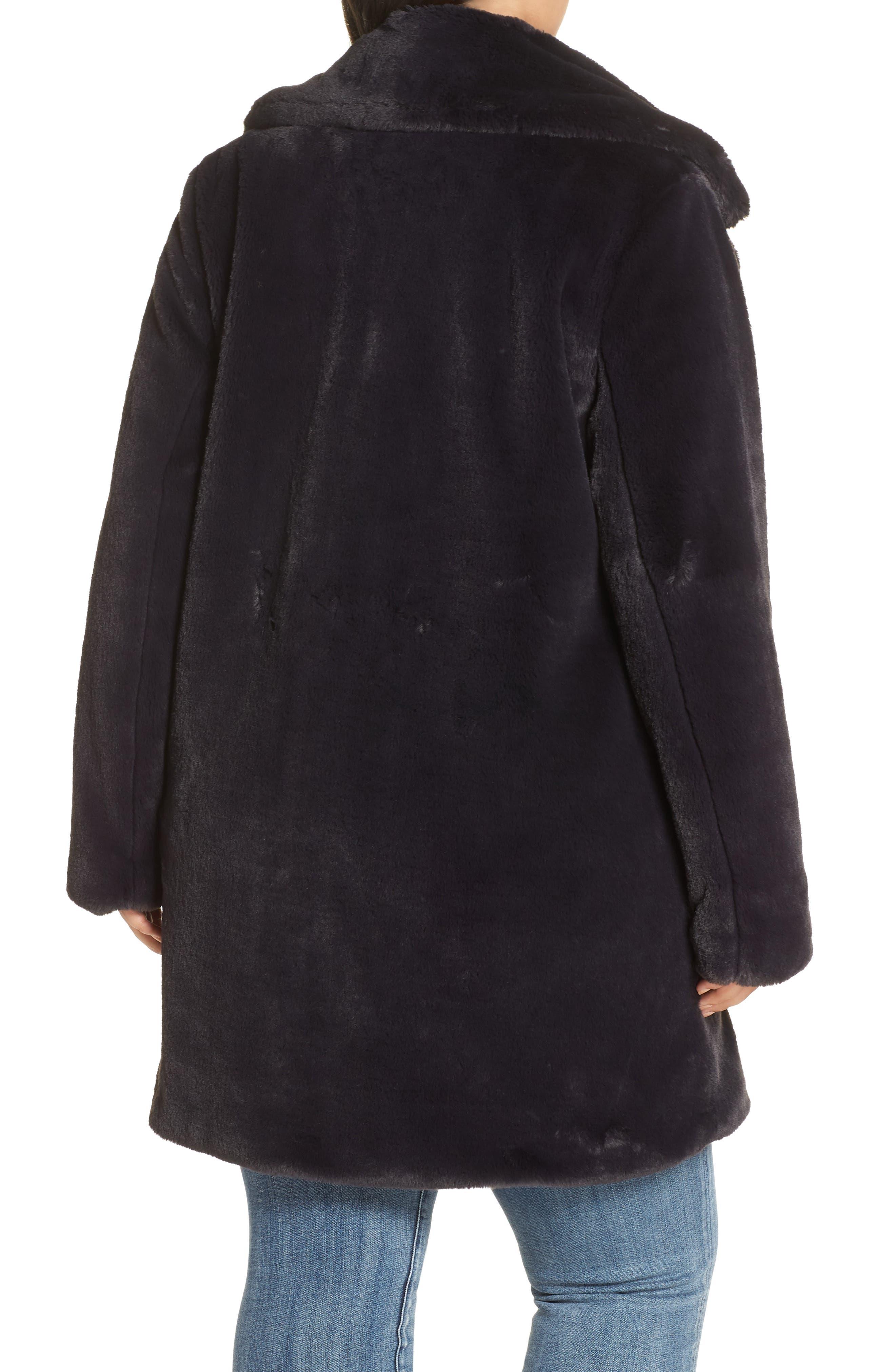 Faux Fur Coat,                             Alternate thumbnail 2, color,                             SLATE