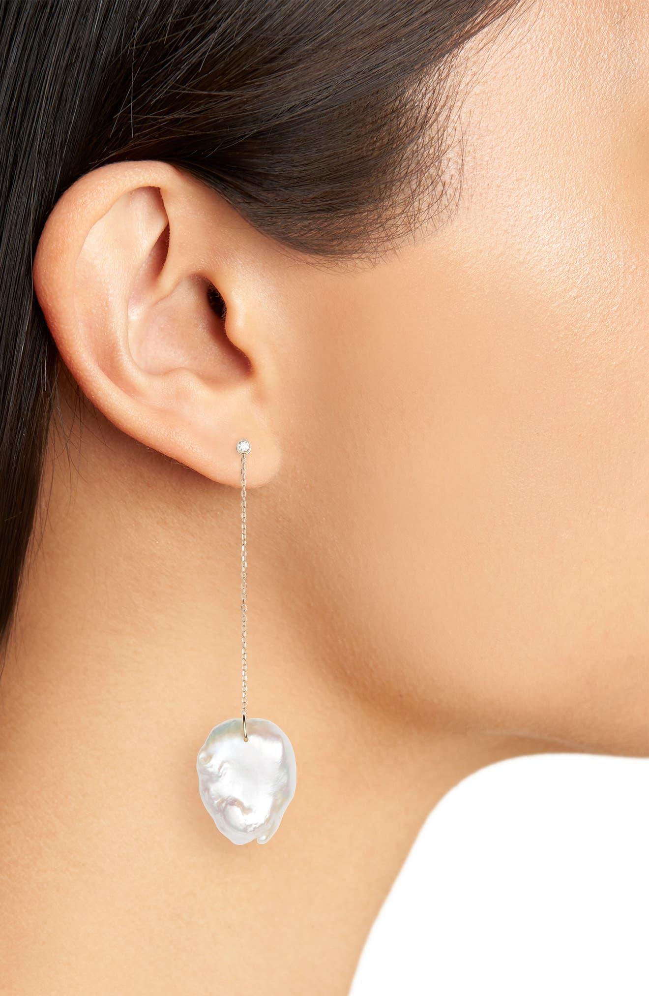 Flat Pearl & Diamond Linear Drop Earrings,                             Alternate thumbnail 2, color,                             YELLOW GOLD/ PEARL