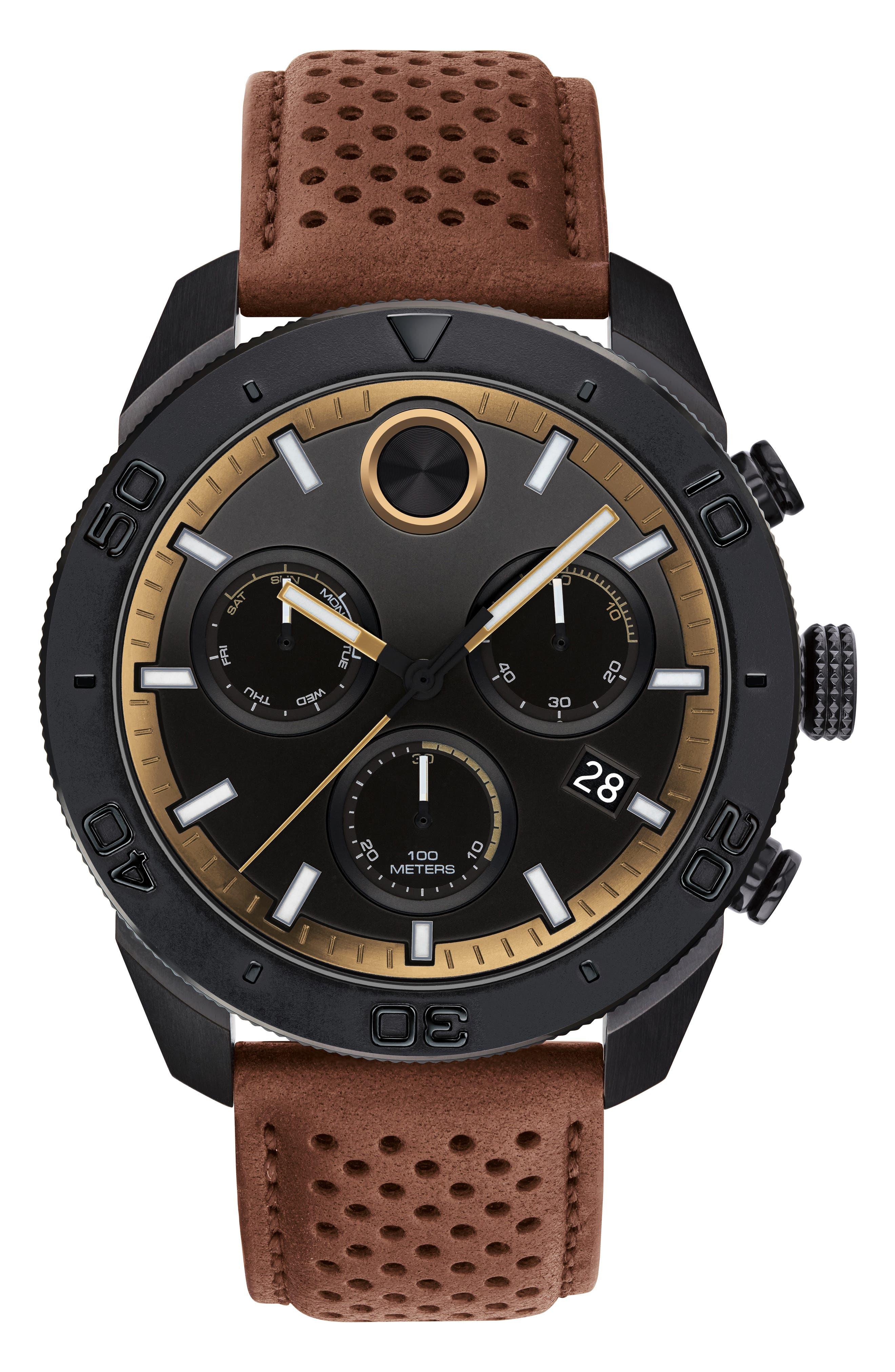 Bold Sport Chronograph Leather Strap Watch, 44mm,                             Main thumbnail 1, color,                             COGNAC/ BLACK