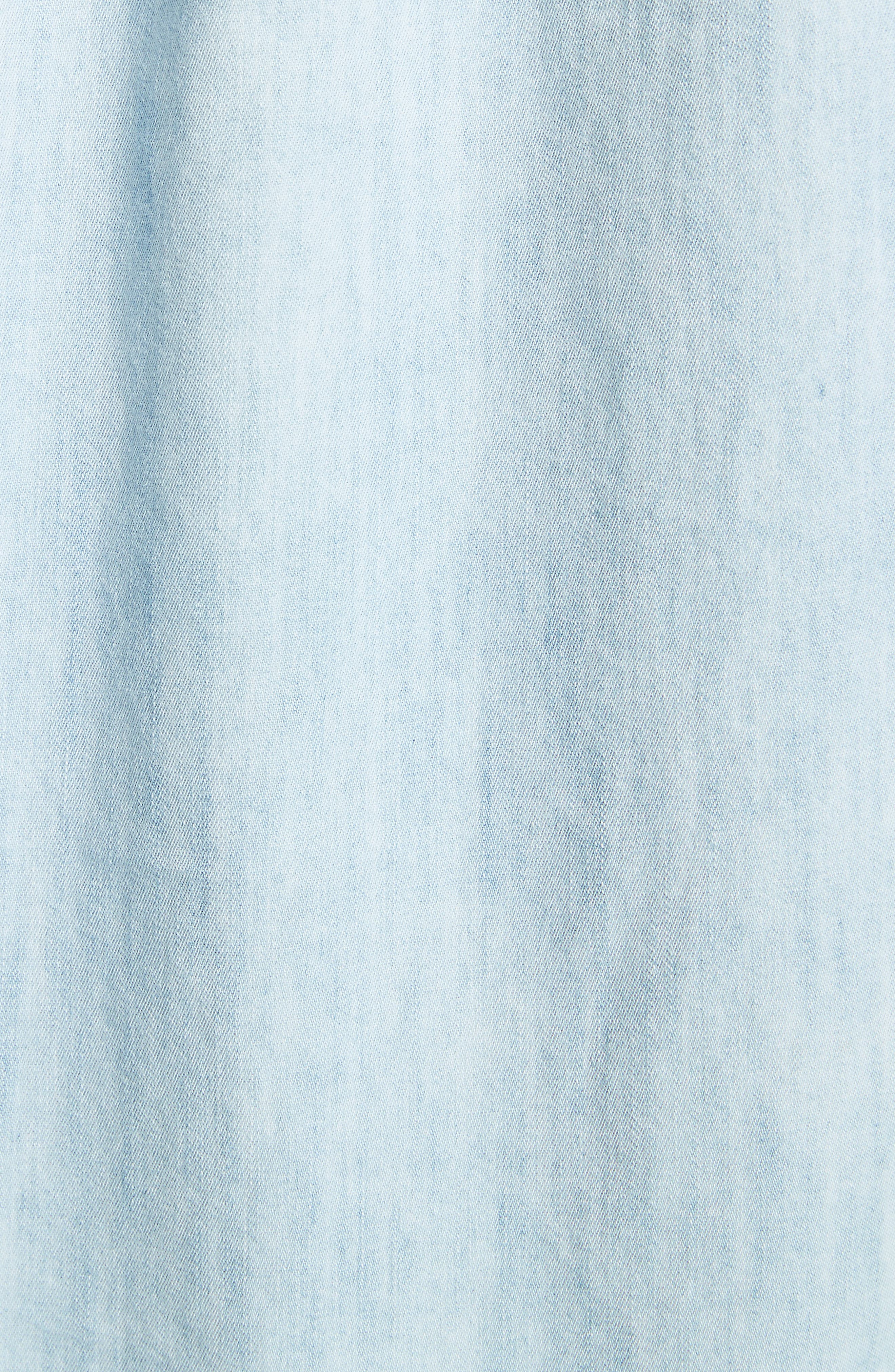 Aubrielle Silk Cotton Chambray Top,                             Alternate thumbnail 5, color,                             486