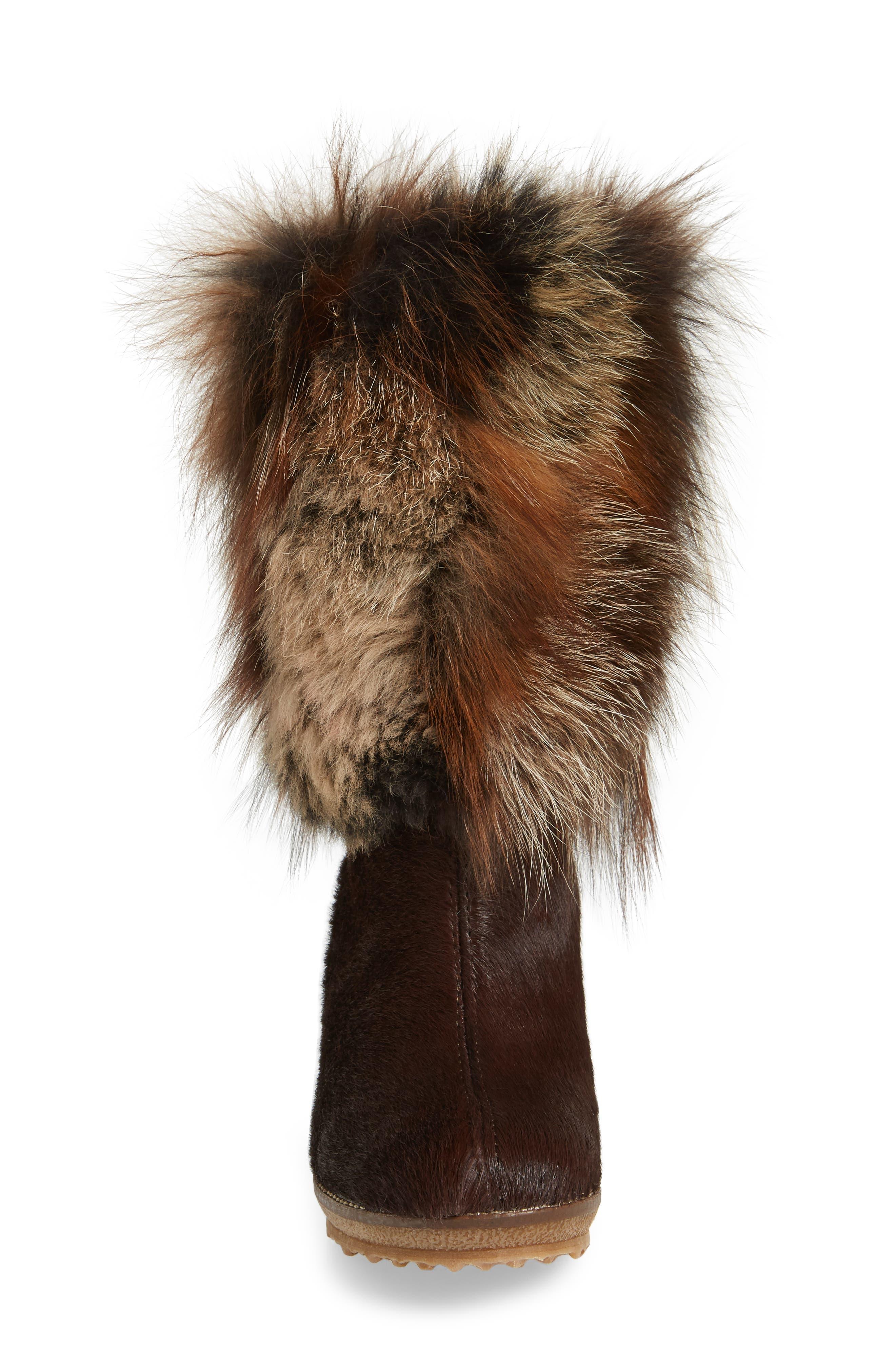 Angelina Genuine Fox Fur Wedge Boot,                             Alternate thumbnail 15, color,