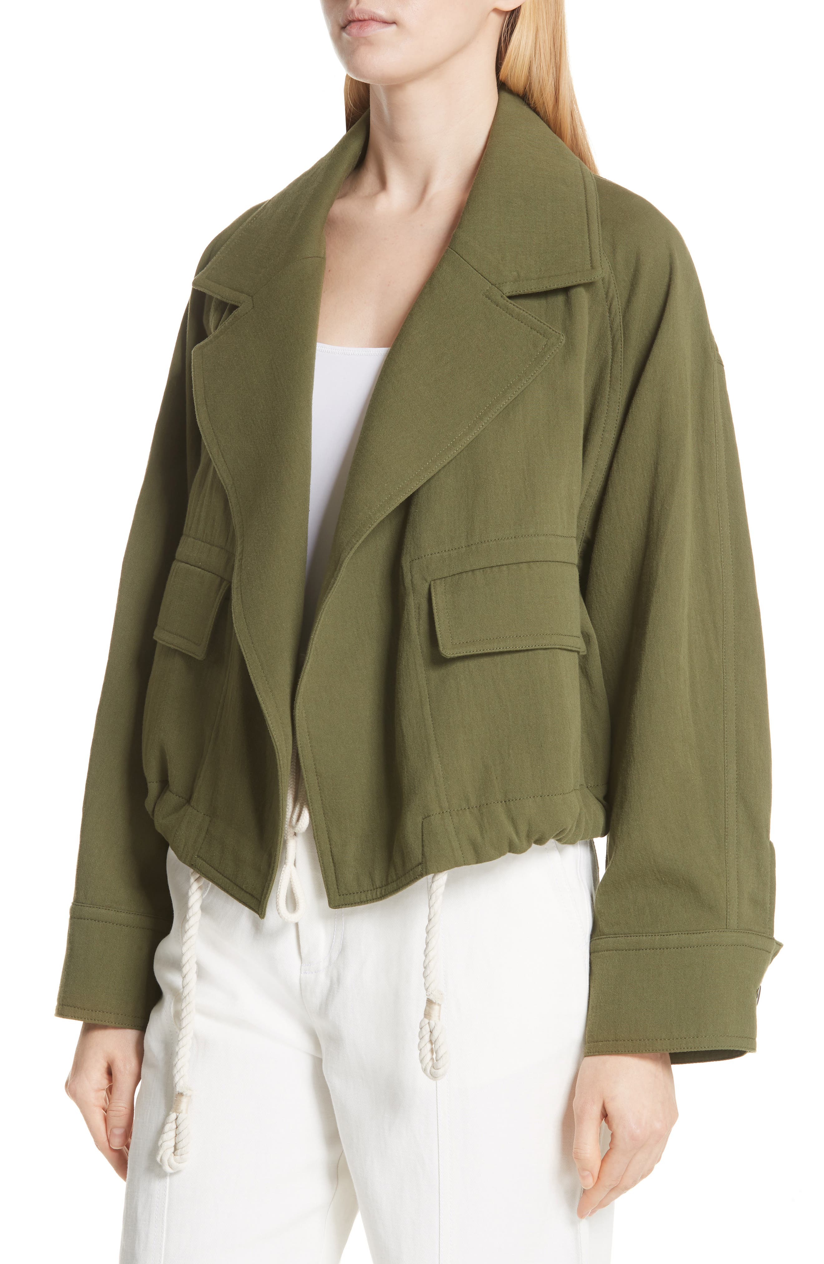 VINCE,                             Drawstring Crop Cotton Jacket,                             Alternate thumbnail 4, color,                             315