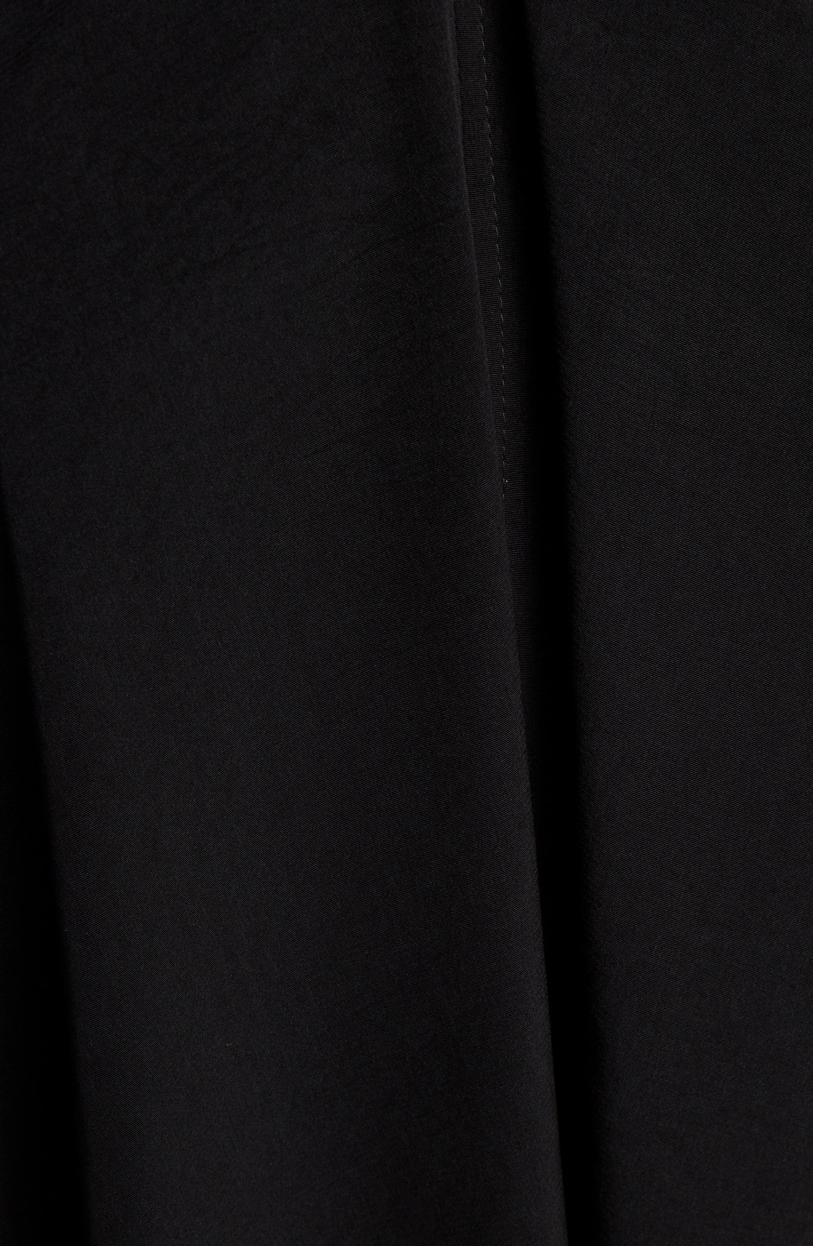 Stand Collar Flare Dress,                             Alternate thumbnail 5, color,                             BLACK