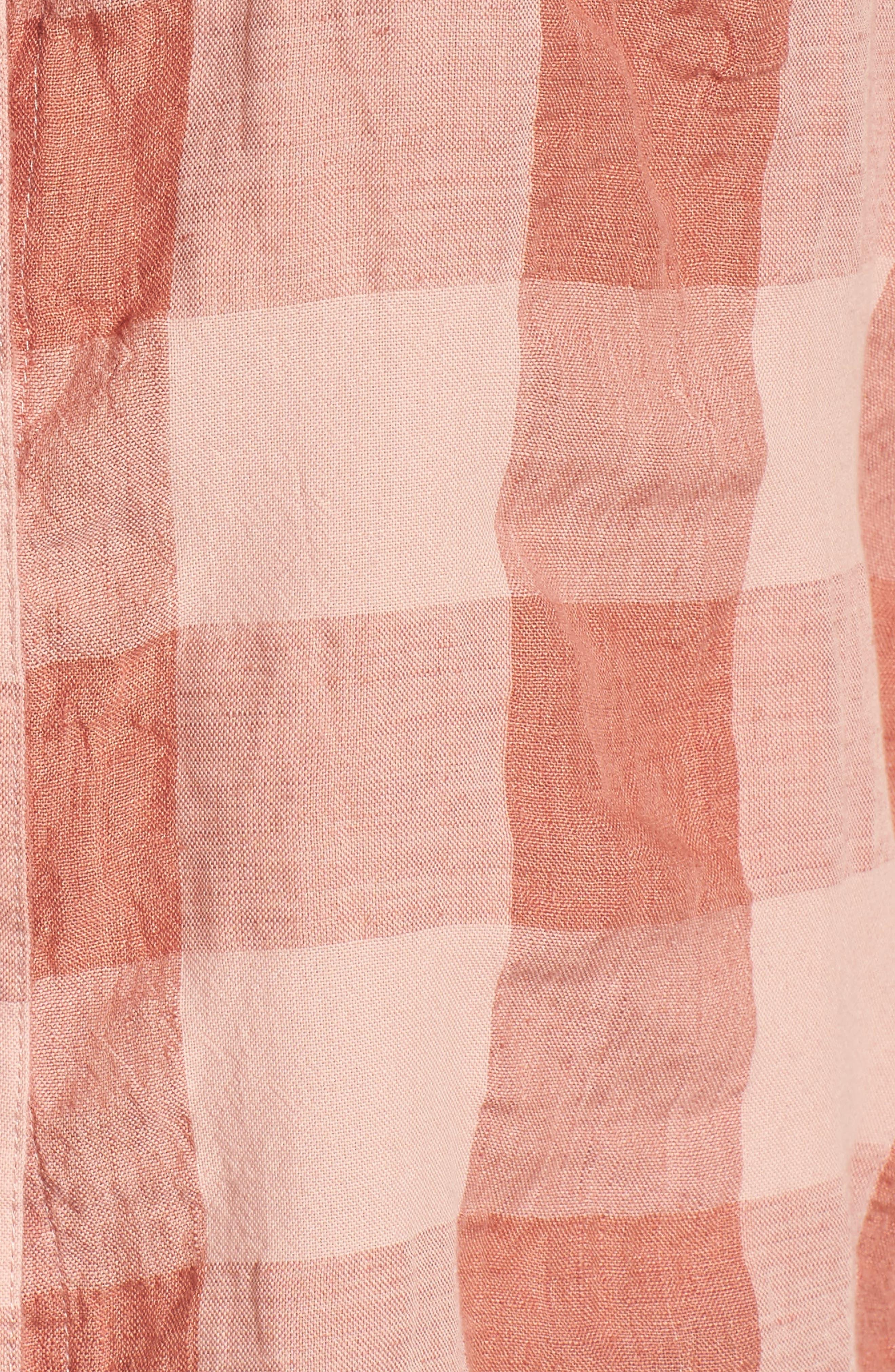 Plaid Short Sleeve High/Low Top,                             Alternate thumbnail 5, color,                             690