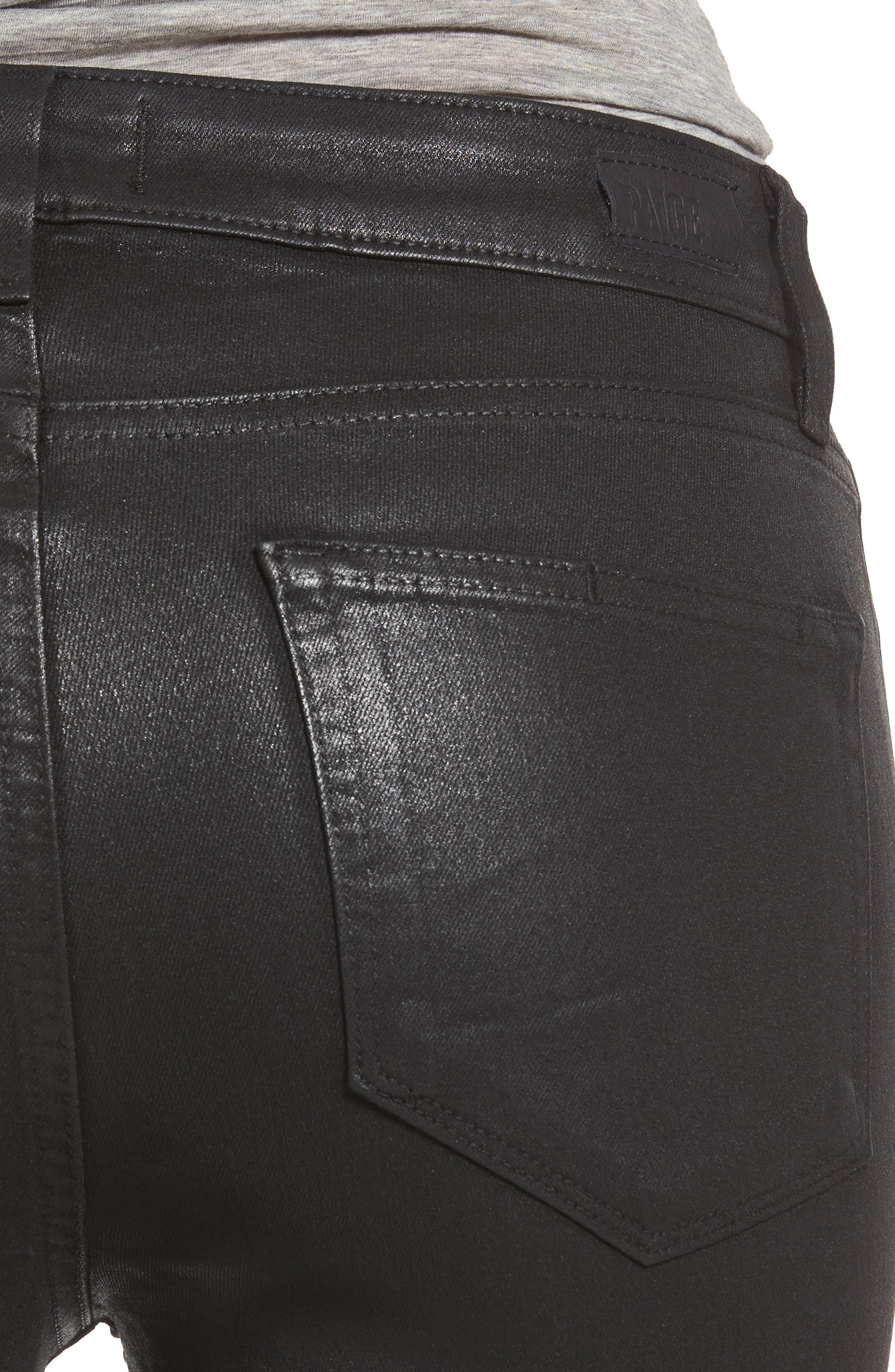PAIGE,                             Transcend - Hoxton High Waist Ankle Skinny Jeans,                             Alternate thumbnail 4, color,                             LUXE BLACK COATED