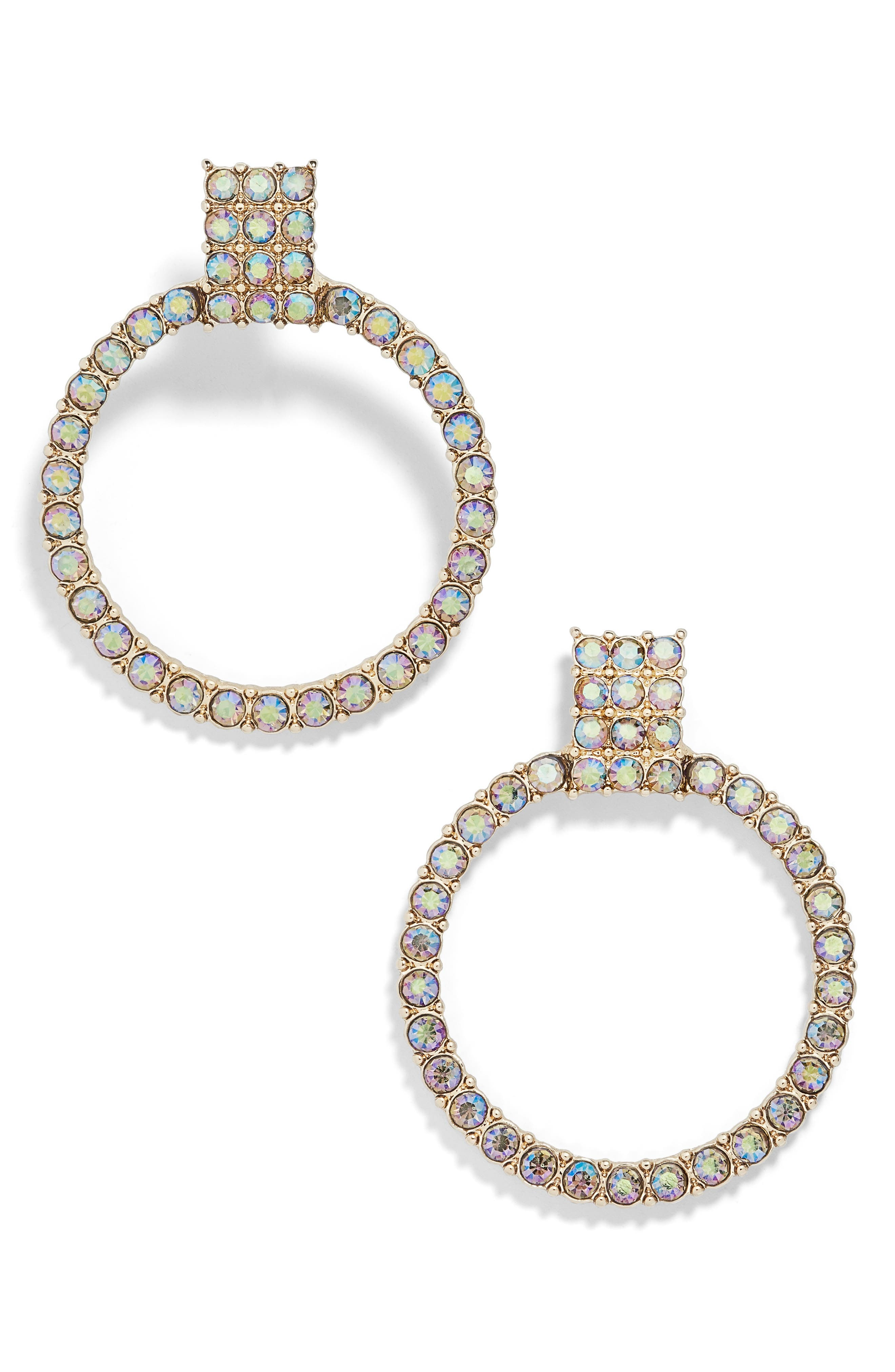Gemma Crystal Embellished Hoop Earrings,                             Main thumbnail 1, color,                             CHAMPAGNE/ GOLD