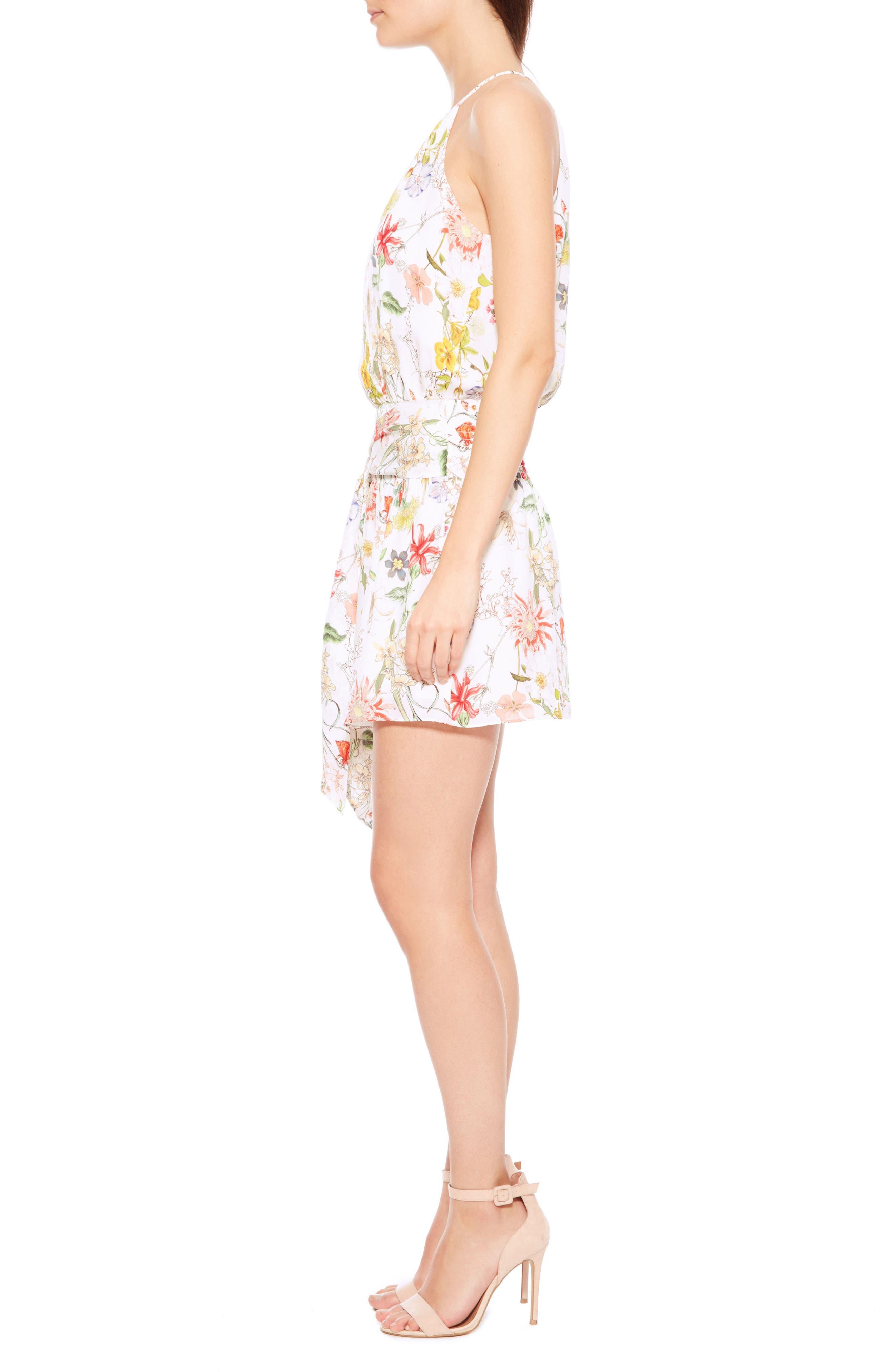 Larissa Floral Silk Dress,                             Alternate thumbnail 3, color,                             908