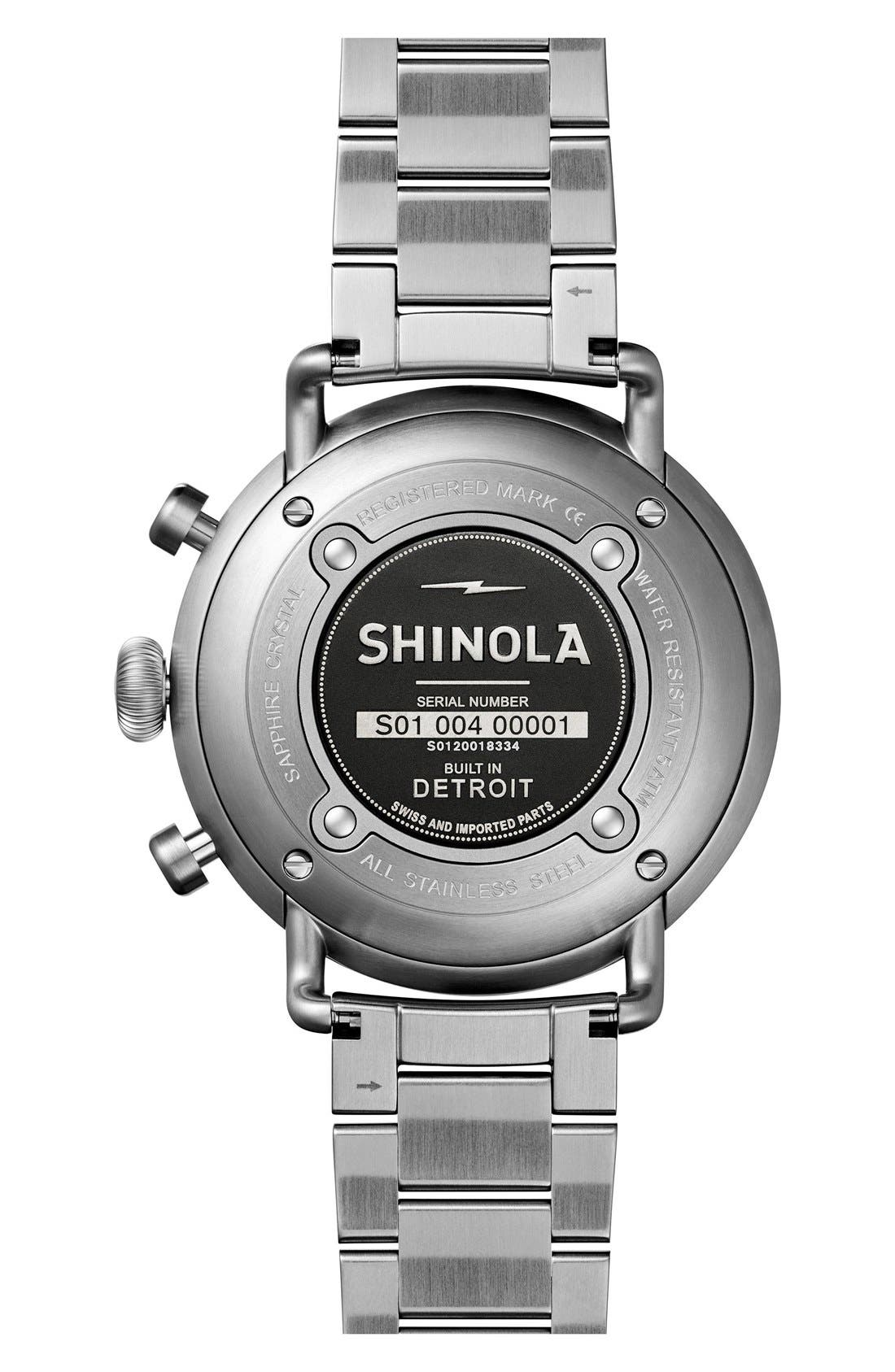 The Canfield Bracelet Watch, 43mm,                             Alternate thumbnail 2, color,                             SILVER/ BLACK