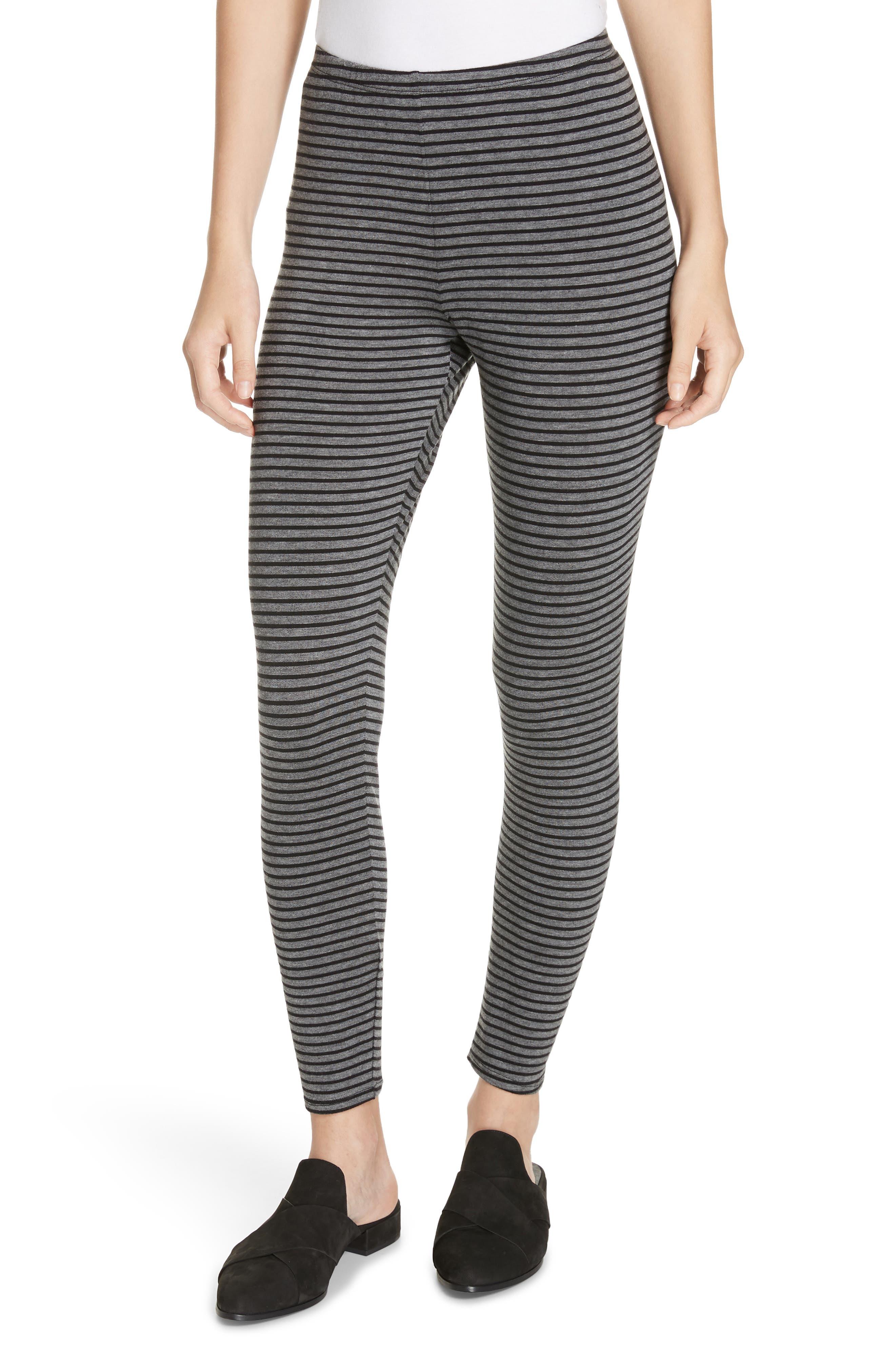 Eileen Fisher Stripe Ankle Leggings, Grey