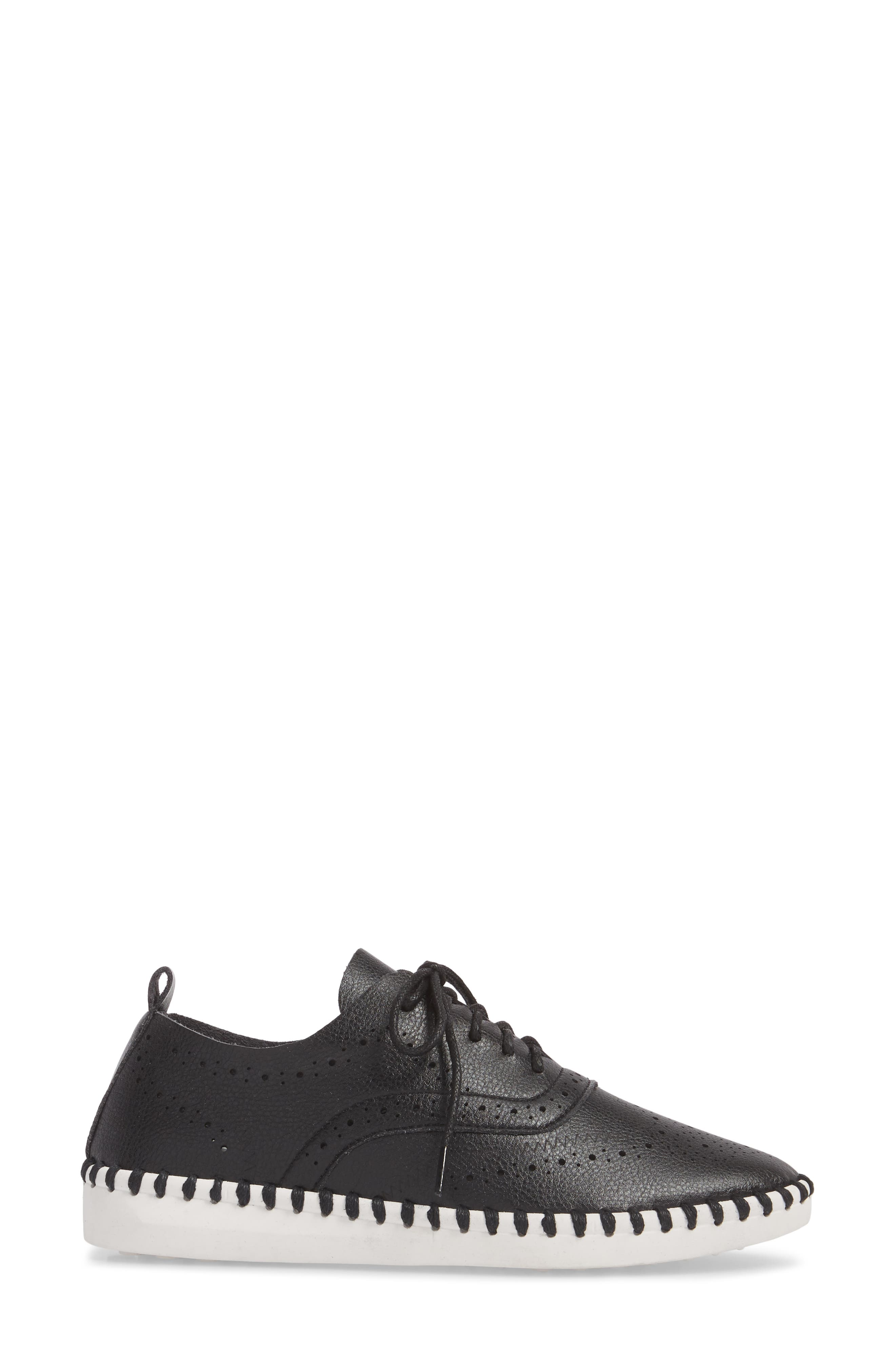 Salinas Waterproof Brogue Lace-Up Sneaker,                             Alternate thumbnail 3, color,                             BLACK FAUX LEATHER