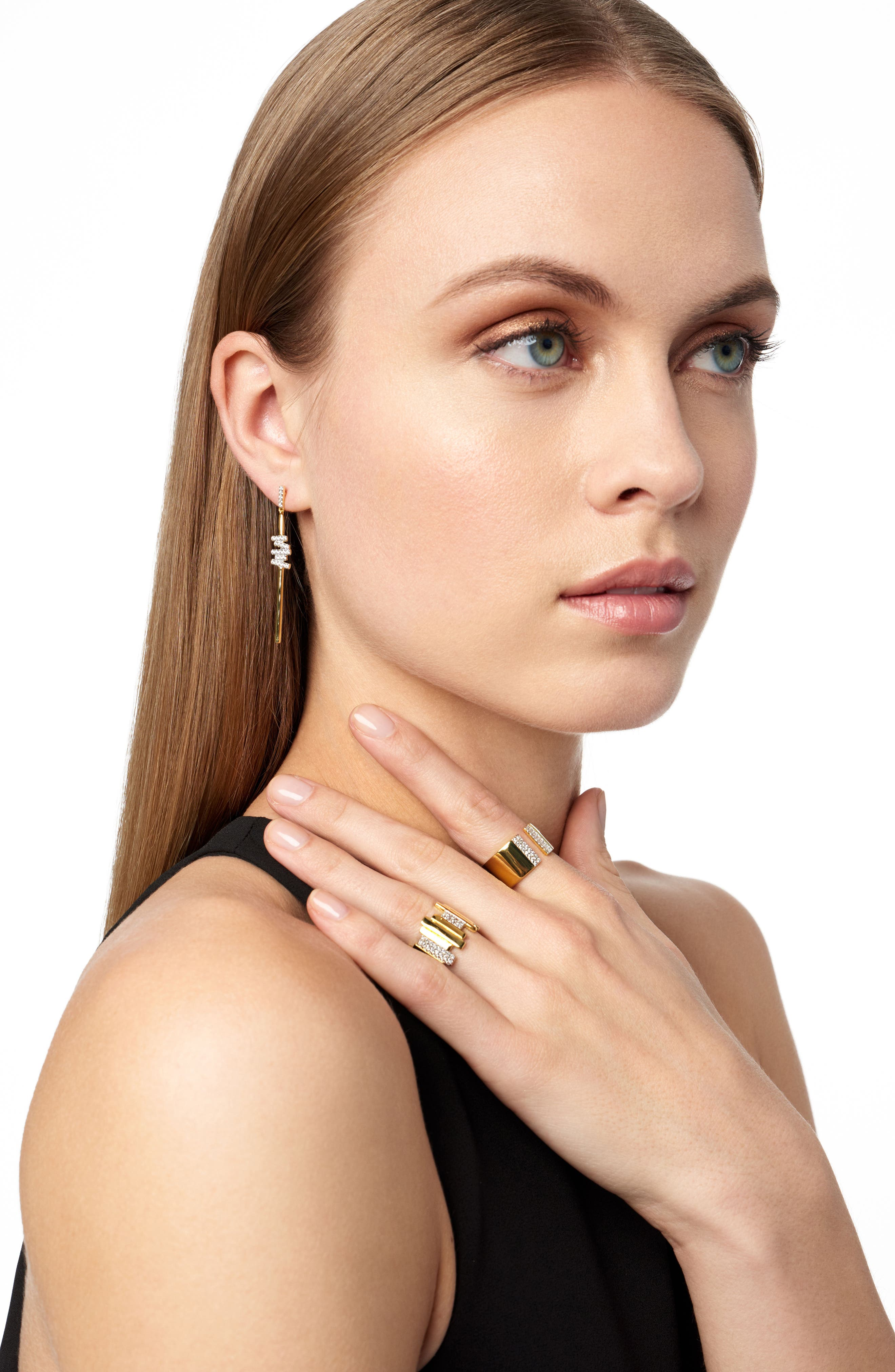 Radiance Cubic Zirconia Drop Earrings,                             Alternate thumbnail 2, color,                             SILVER/ GOLD