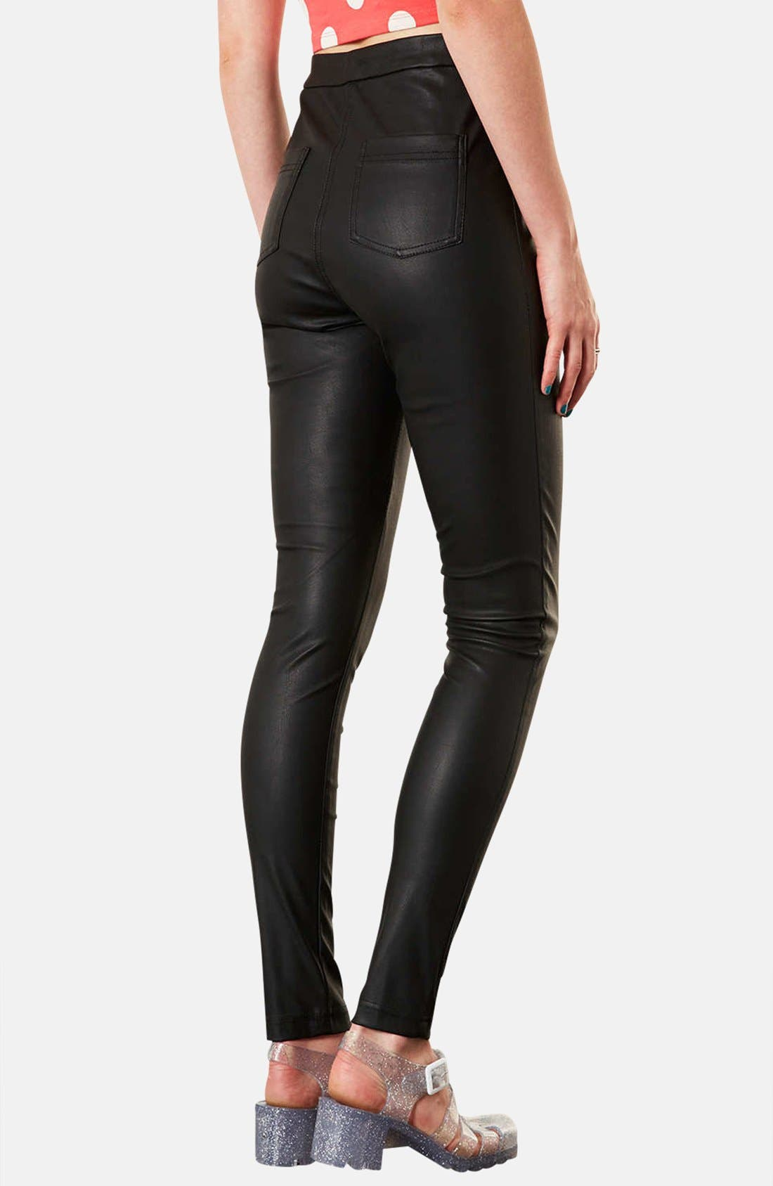 'Debbie' High Waist Faux Leather Pants,                             Alternate thumbnail 2, color,                             001