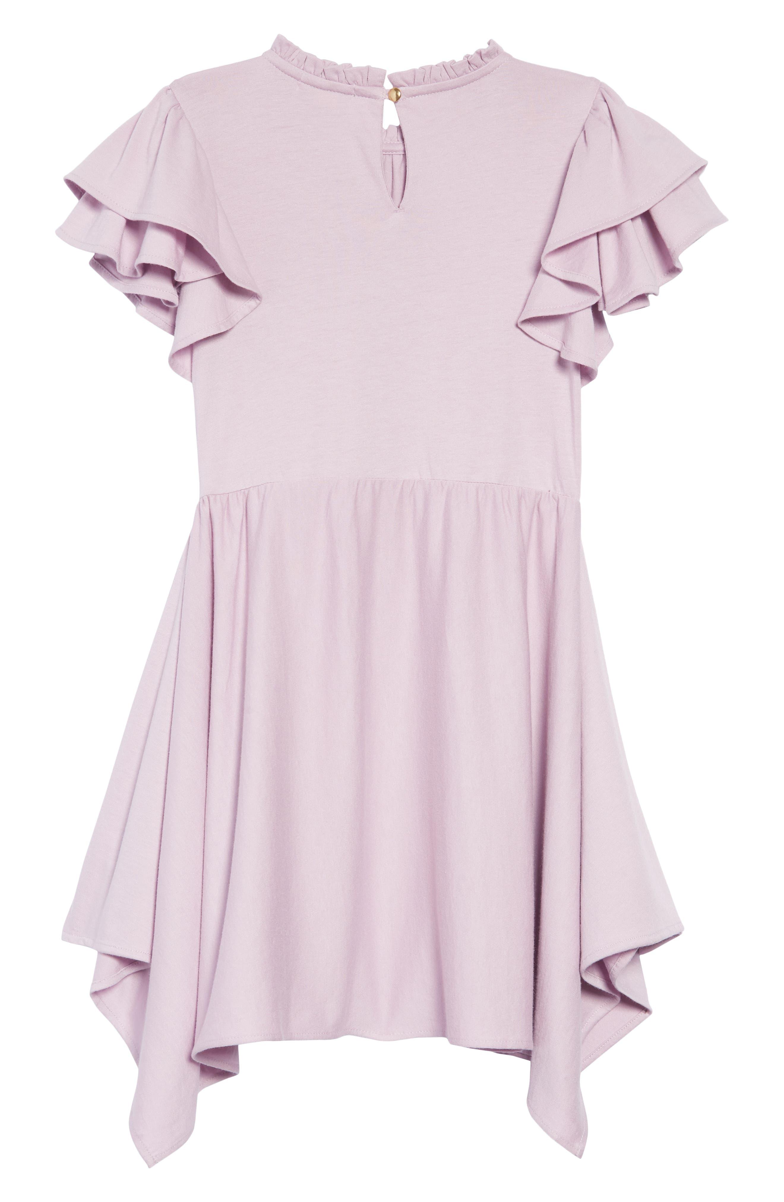 Flutter Sleeve Dress,                             Alternate thumbnail 2, color,                             SMOKY WISTERIA