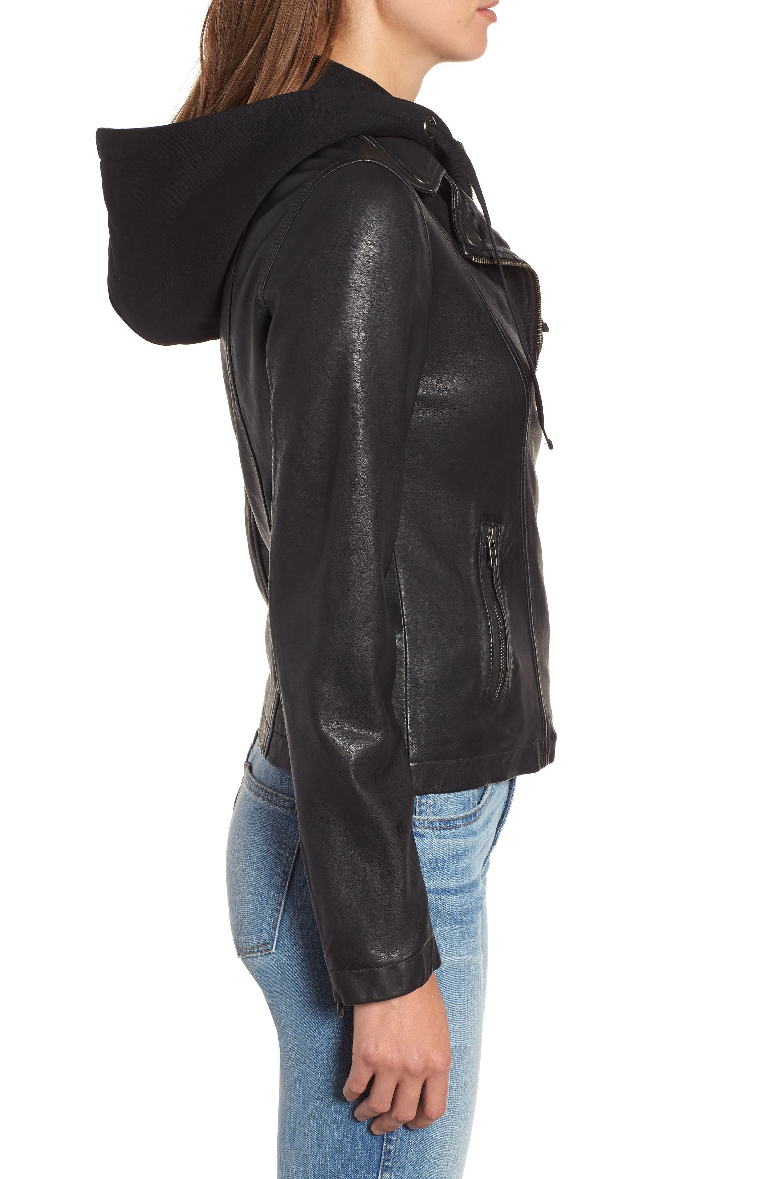 Leather Moto Jacket with Removable Hood,                             Alternate thumbnail 3, color,                             001